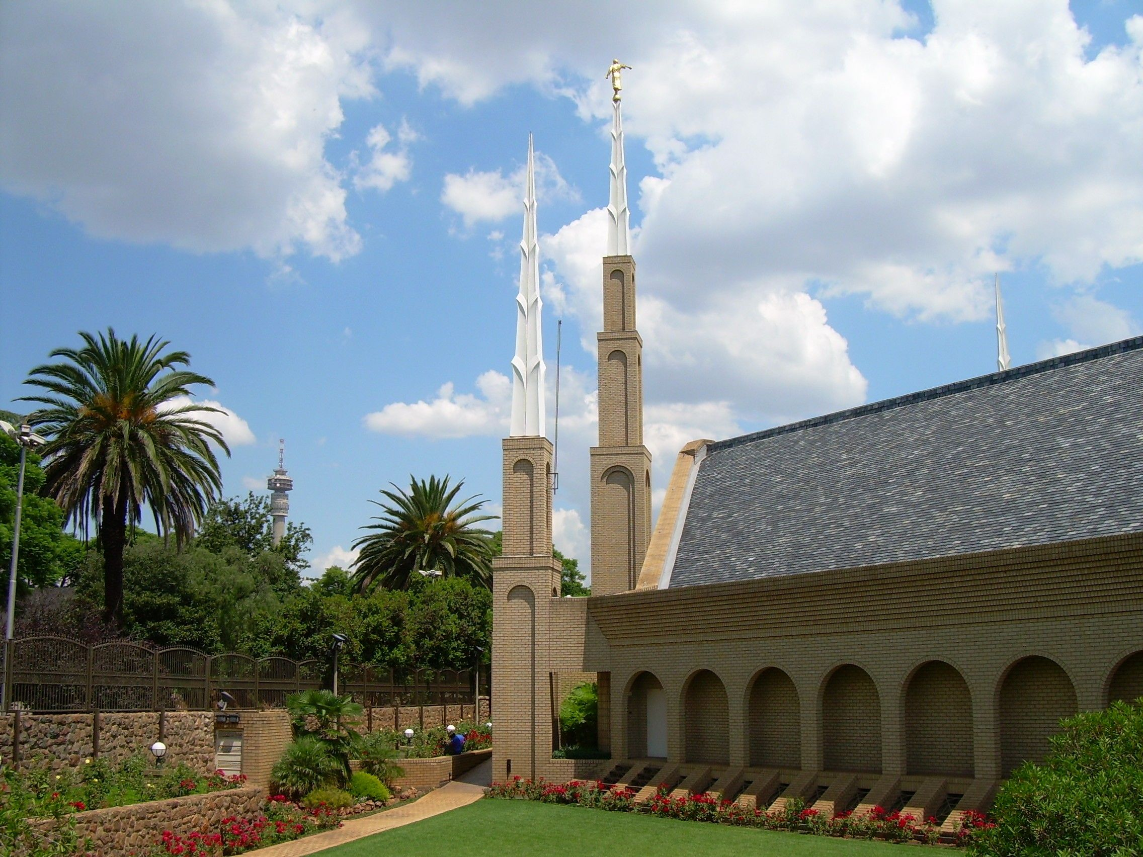 The Johannesburg South Africa Temple spires, including side view and scenery.