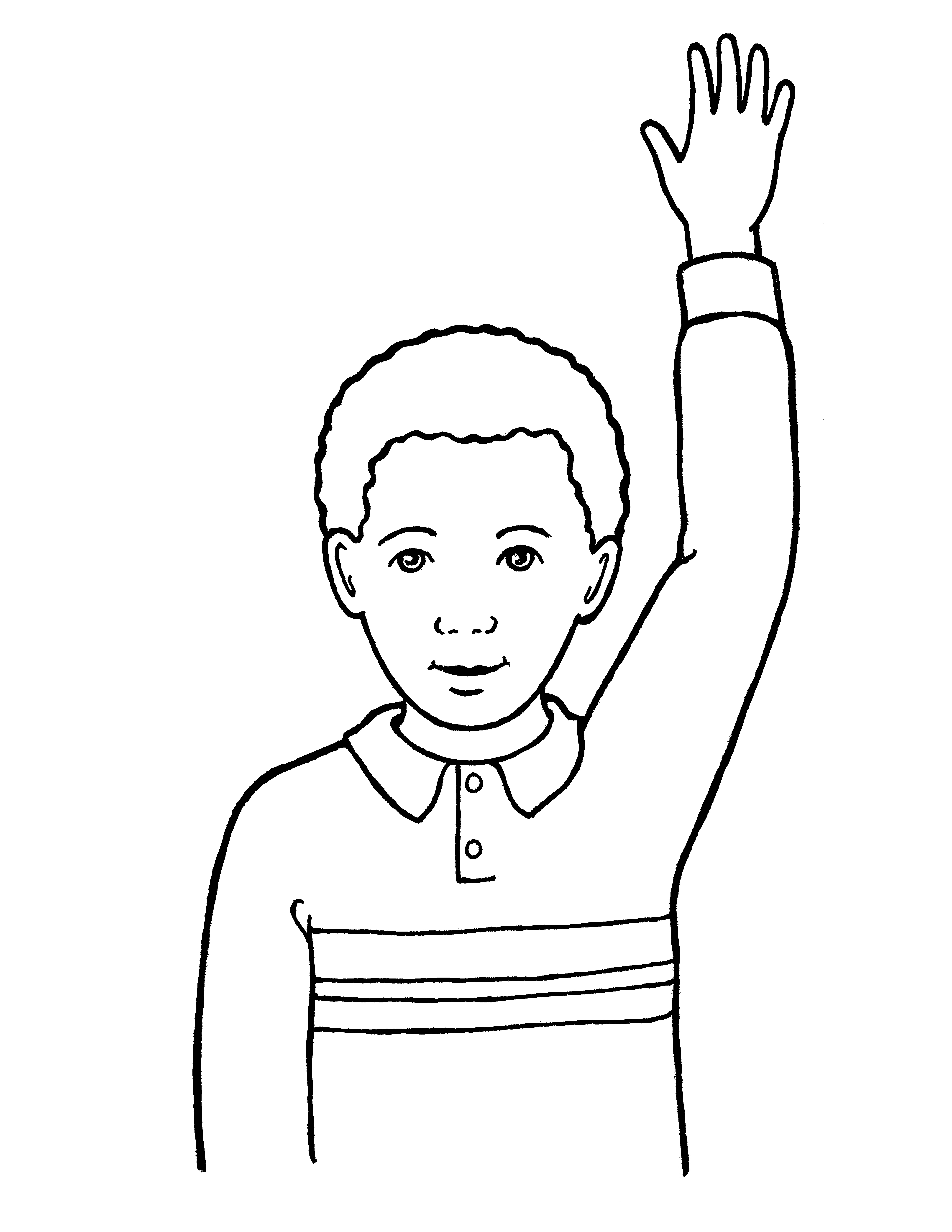 An illustration of a young boy reverently raising his hand.