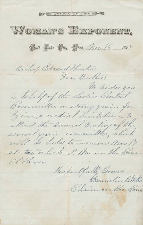 Emmeline B. Wells' invitation to Edward Hunter to attend meeting of grain committees