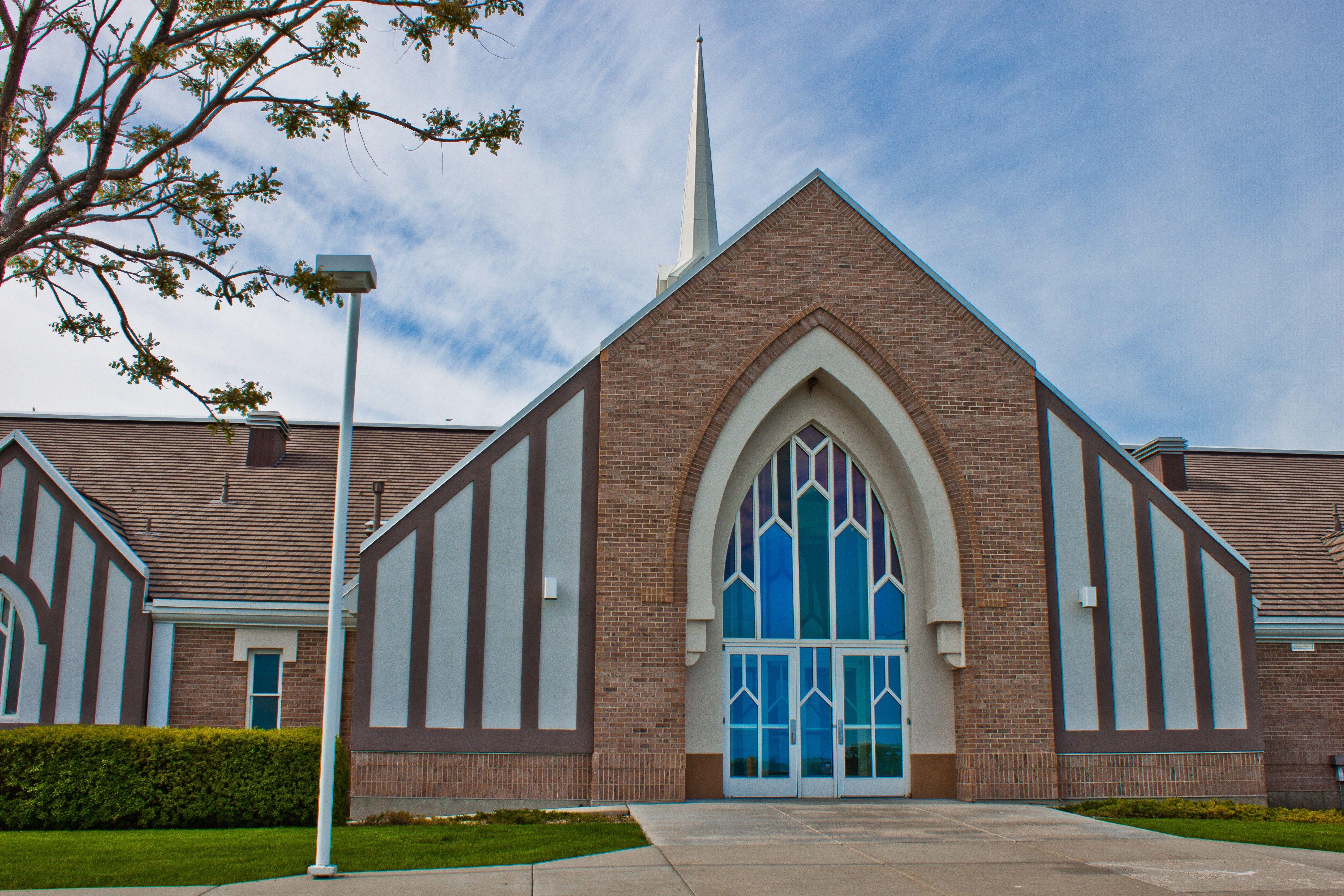 The front view of a chapel in Erda, Utah.