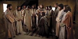 Christ ordains the Apostle Peter, and the other Apostles surround them with their hands folded.