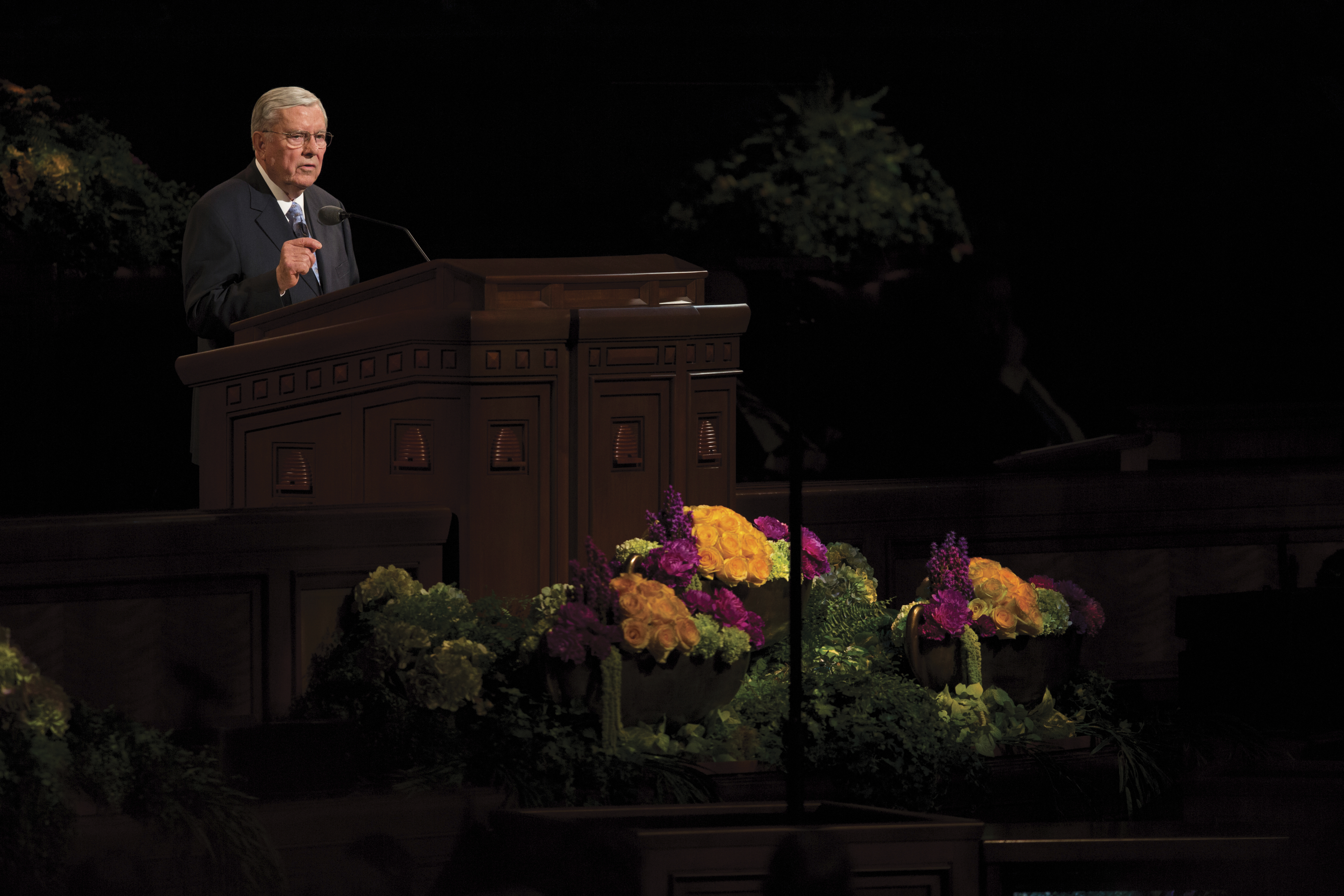 M. Russell Ballard speaking in a session of general conference.