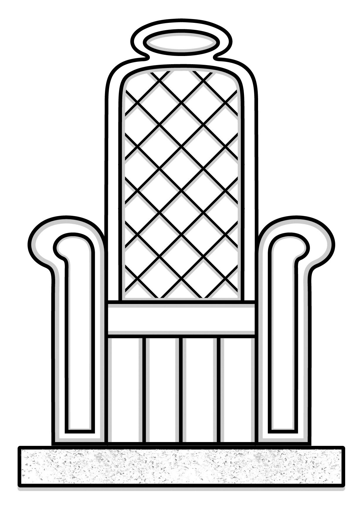 A simple line drawing of a throne.