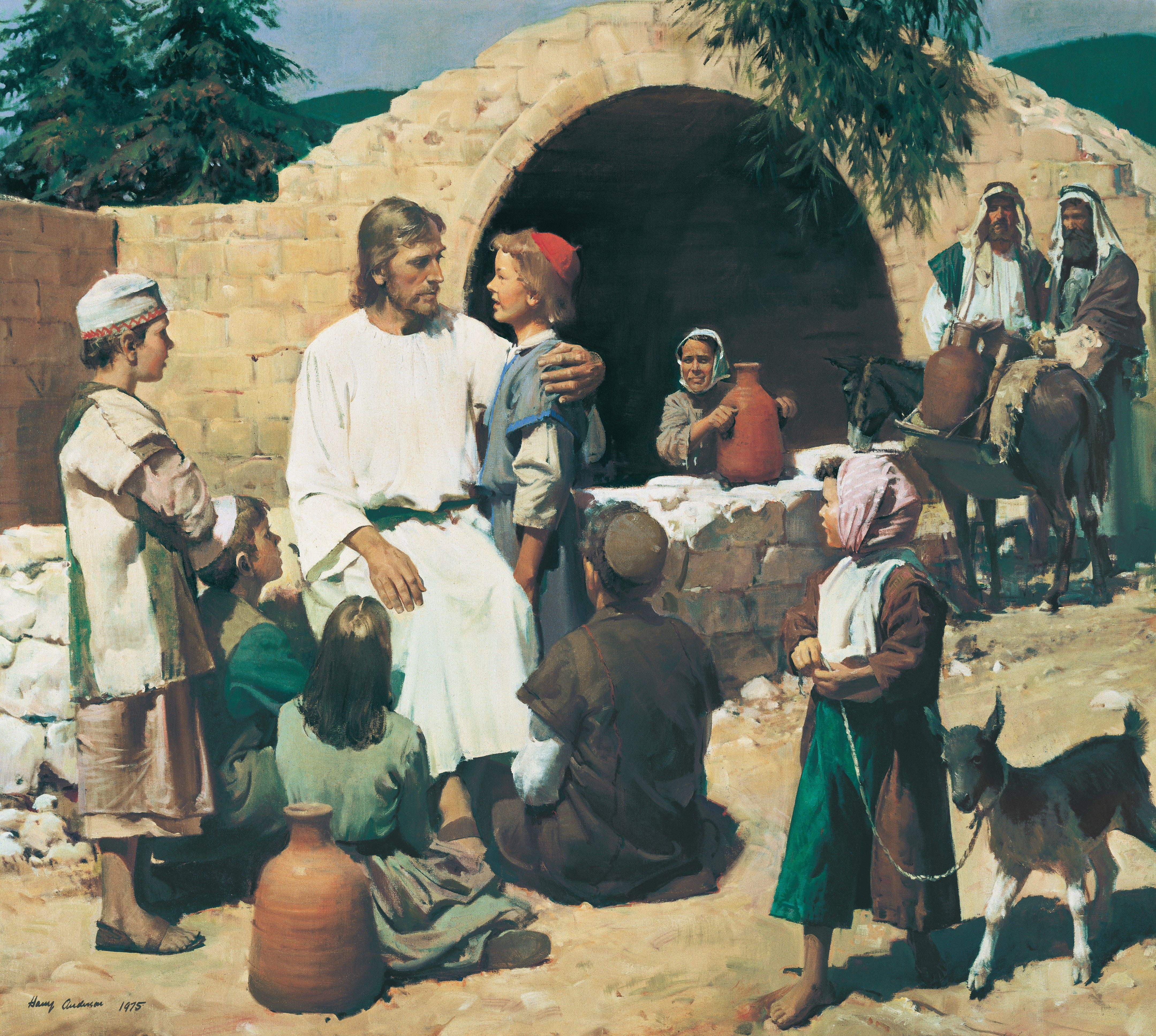 Christ and the Children (Christ with the Children), by Harry Anderson (62467); GAK 216; GAB 47; Primary manual 2-35; Primary manual 3-56; Primary manual 7-24; Matthew 19:13–15; Mark 10:13–16