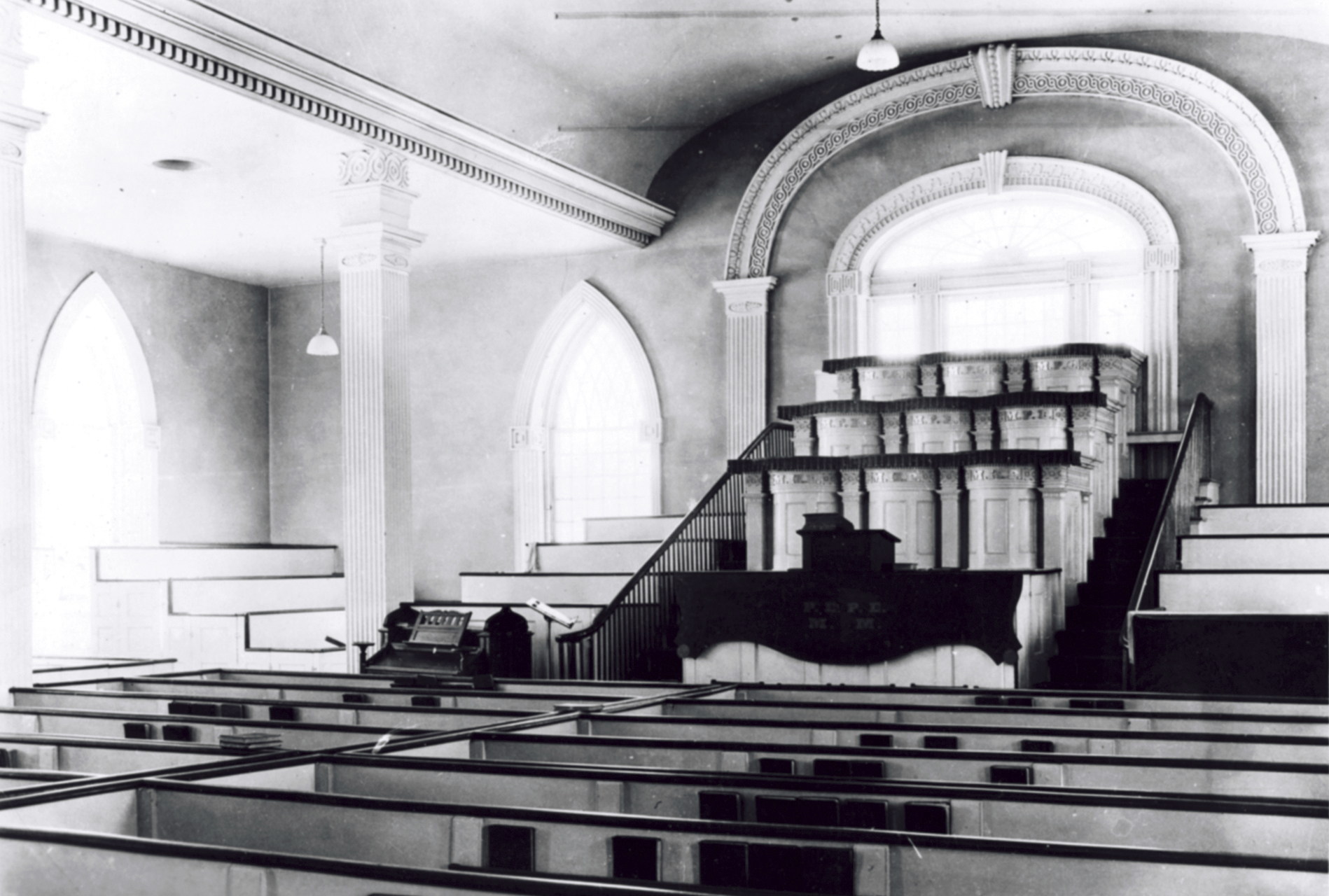 The interior of the Kirtland Temple from around 1880 to the 1970s. Teachings of Presidents of the Church: George Albert Smith (2011), 80