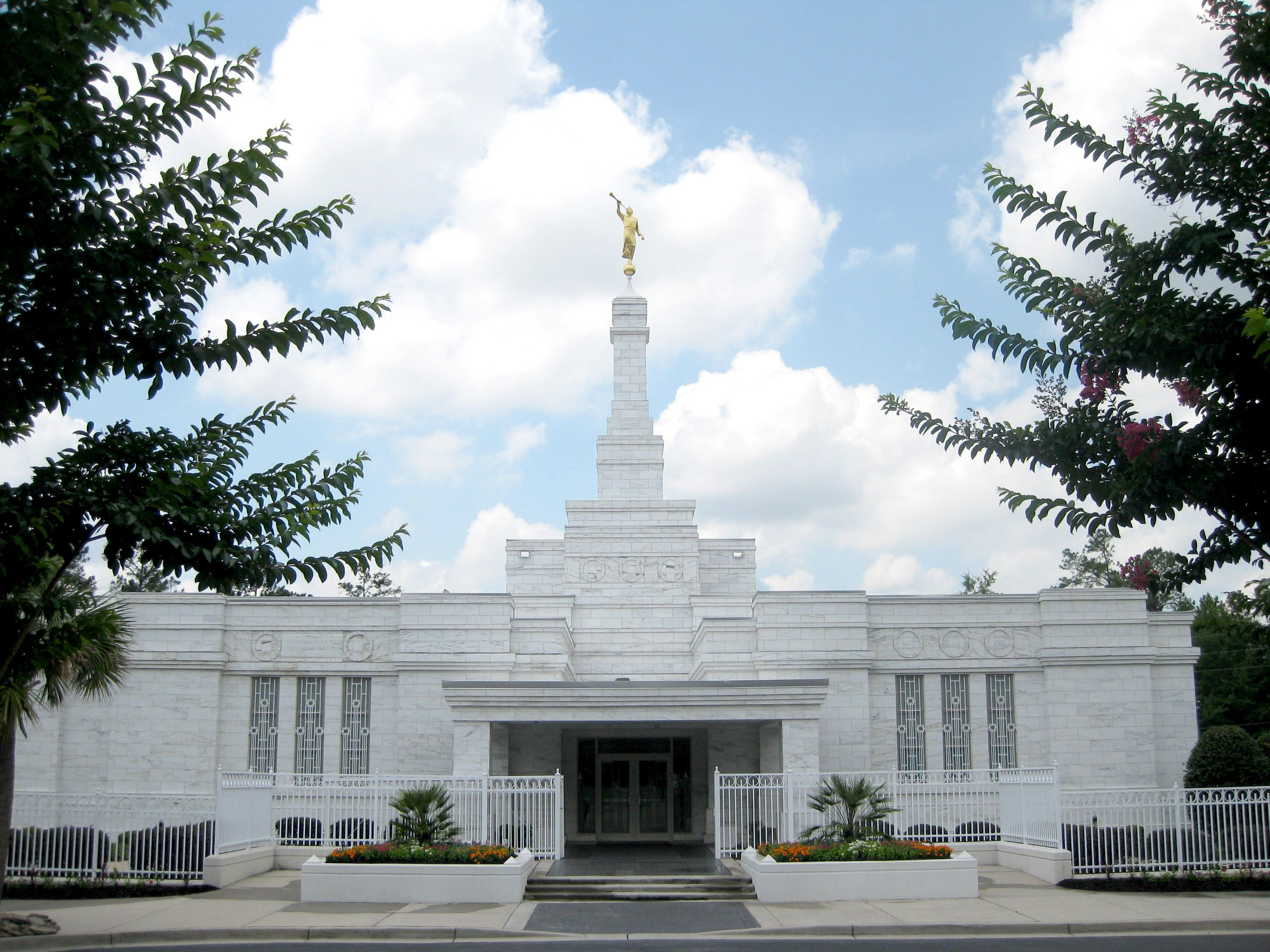 A view of the entrance to the Columbia South Carolina Temple.