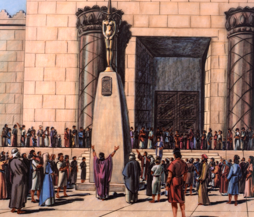 Israelite people worshipping idol