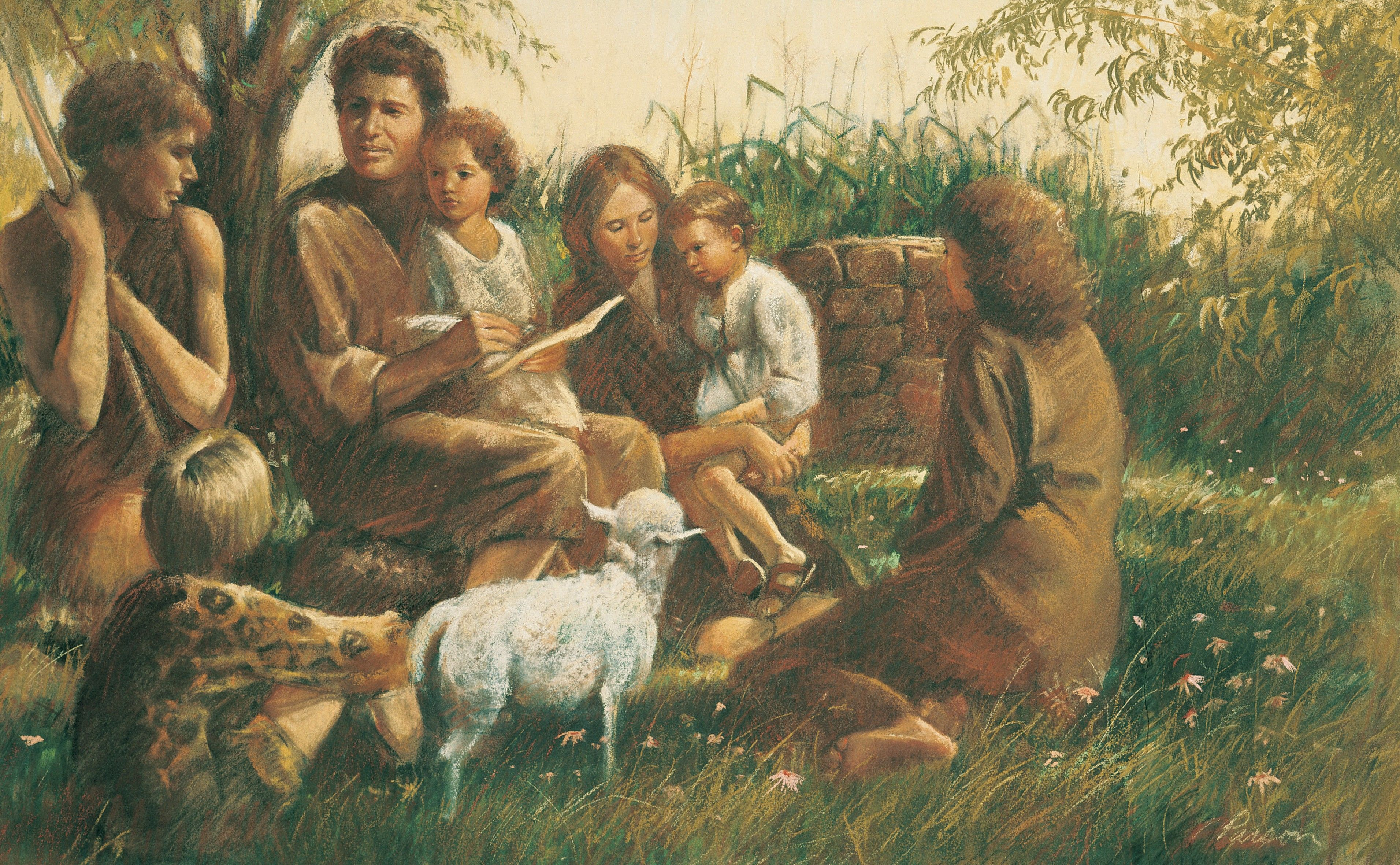 Adam and Eve Teaching Their Children, by Del Parson; GAK 119; GAB 5; Primary manual 1-34; Primary manual 3-05; Moses 5:12