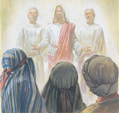 Jesus, Moses, and Elias appearing to Apostles