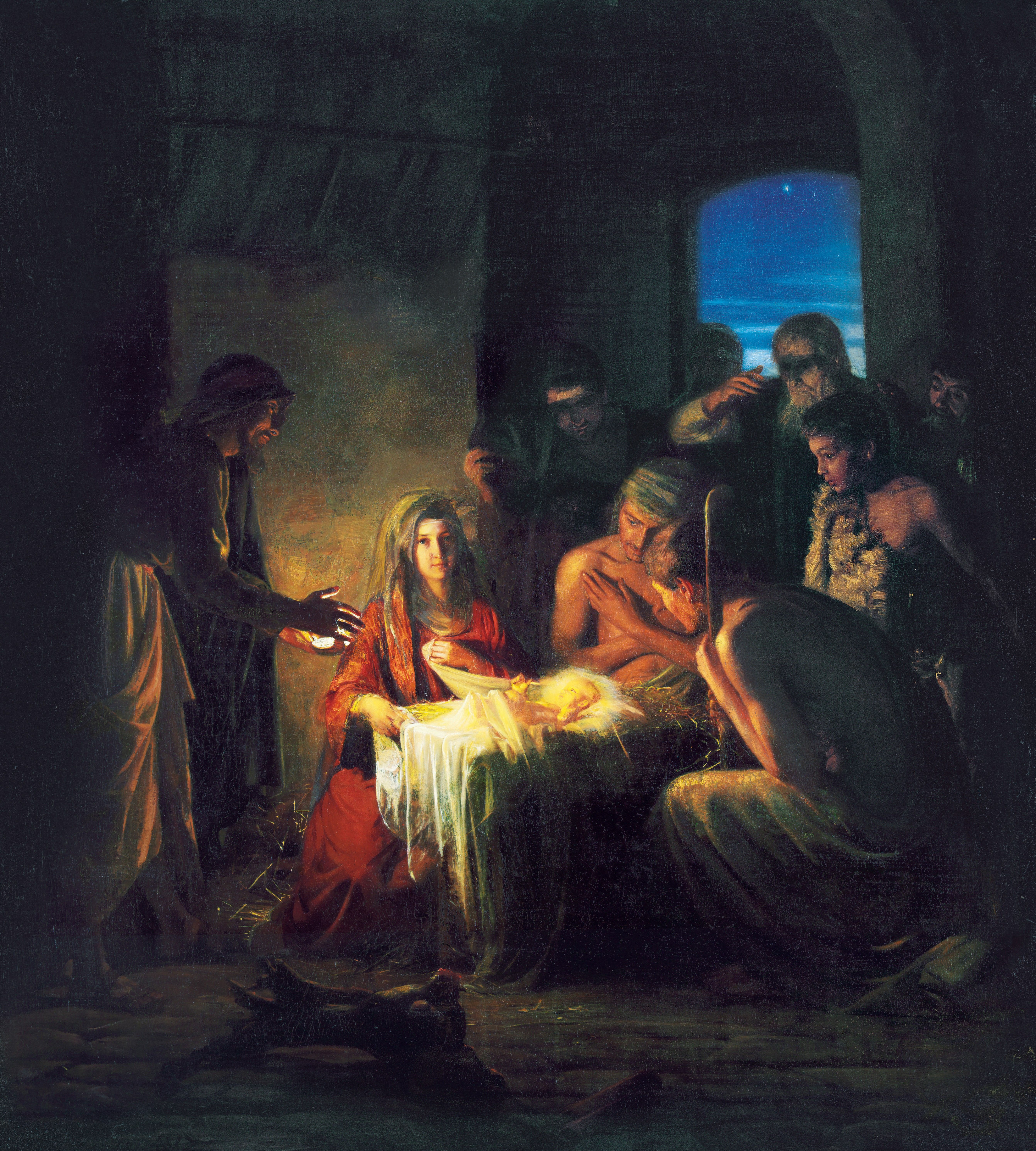 The Birth of Jesus, by Carl Heinrich Bloch (62116); GAK 200; GAB 30; Primary manual 1-75; Primary manual 2-41; Primary manual 4-10; Primary manual 6-50; Primary manual 7-03; Isaiah 7:14; Luke 2:1–16; 1 Nephi 11:13–21; Alma 7:10 This image is to be used for Church purposes only.