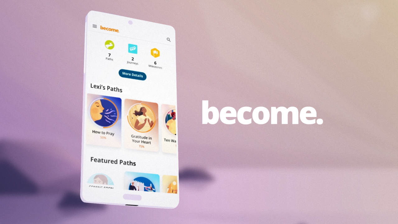 The Become experience app introduction video with spiritual activities to bring you closer to God