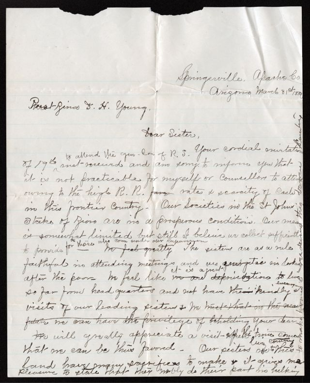 Letter from Eliza Stewart Udall to Zina D. H. Young