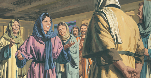 Mary Magdalene talking to Apostles