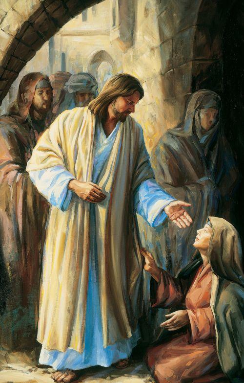 Woman touching the hem of Savior's garment