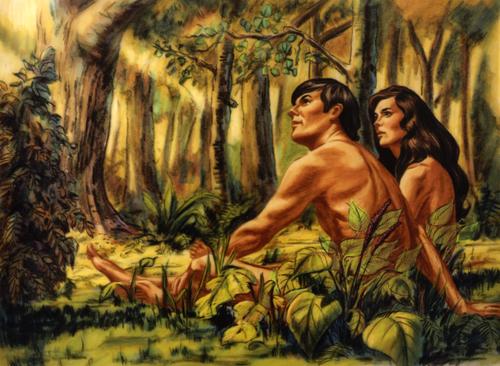 Adam and Eve looking at Garden of Eden