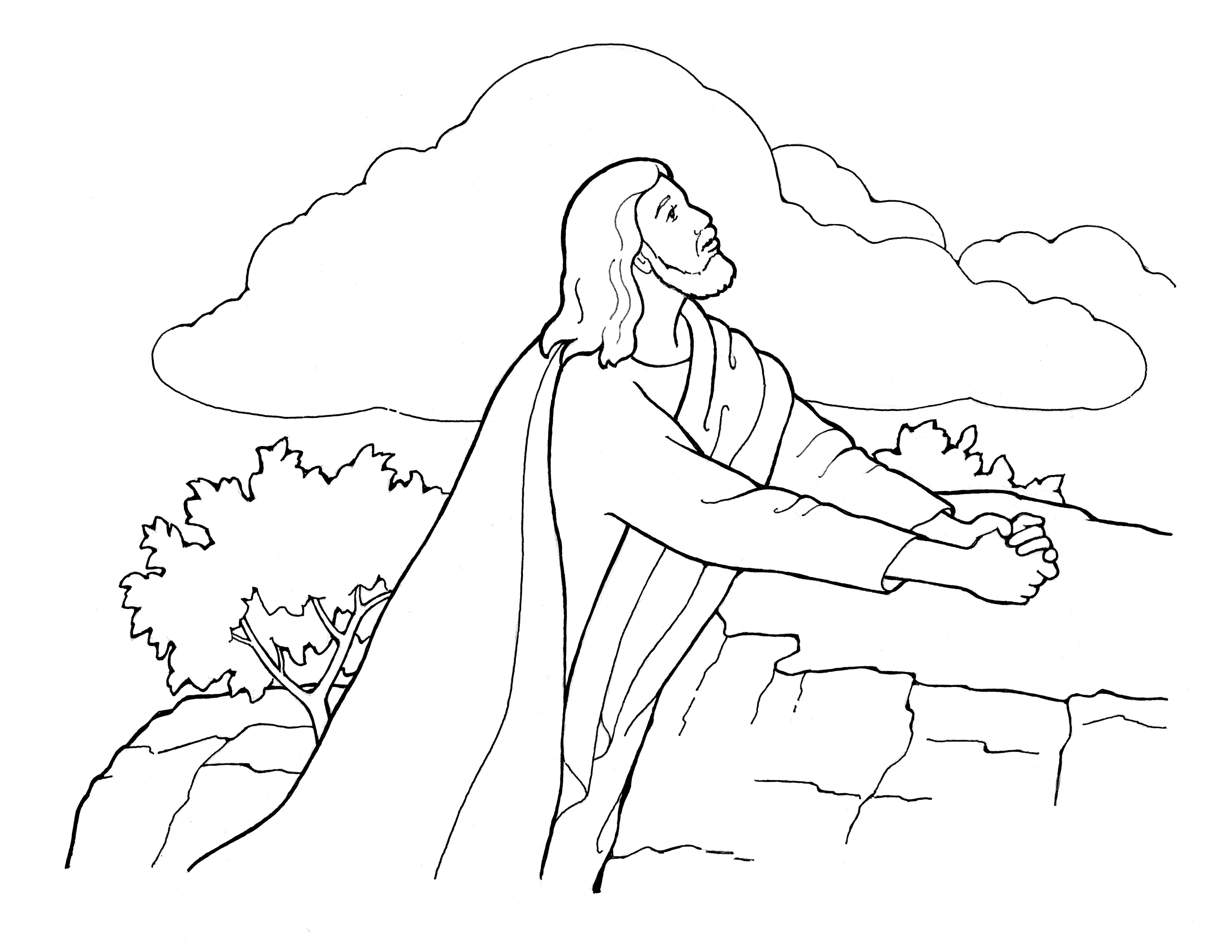 An illustration of Jesus Christ praying in the Garden of Gethsemane.