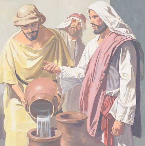 servants filling jars with water
