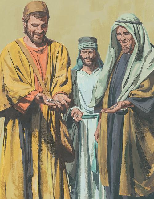 three servants holding money