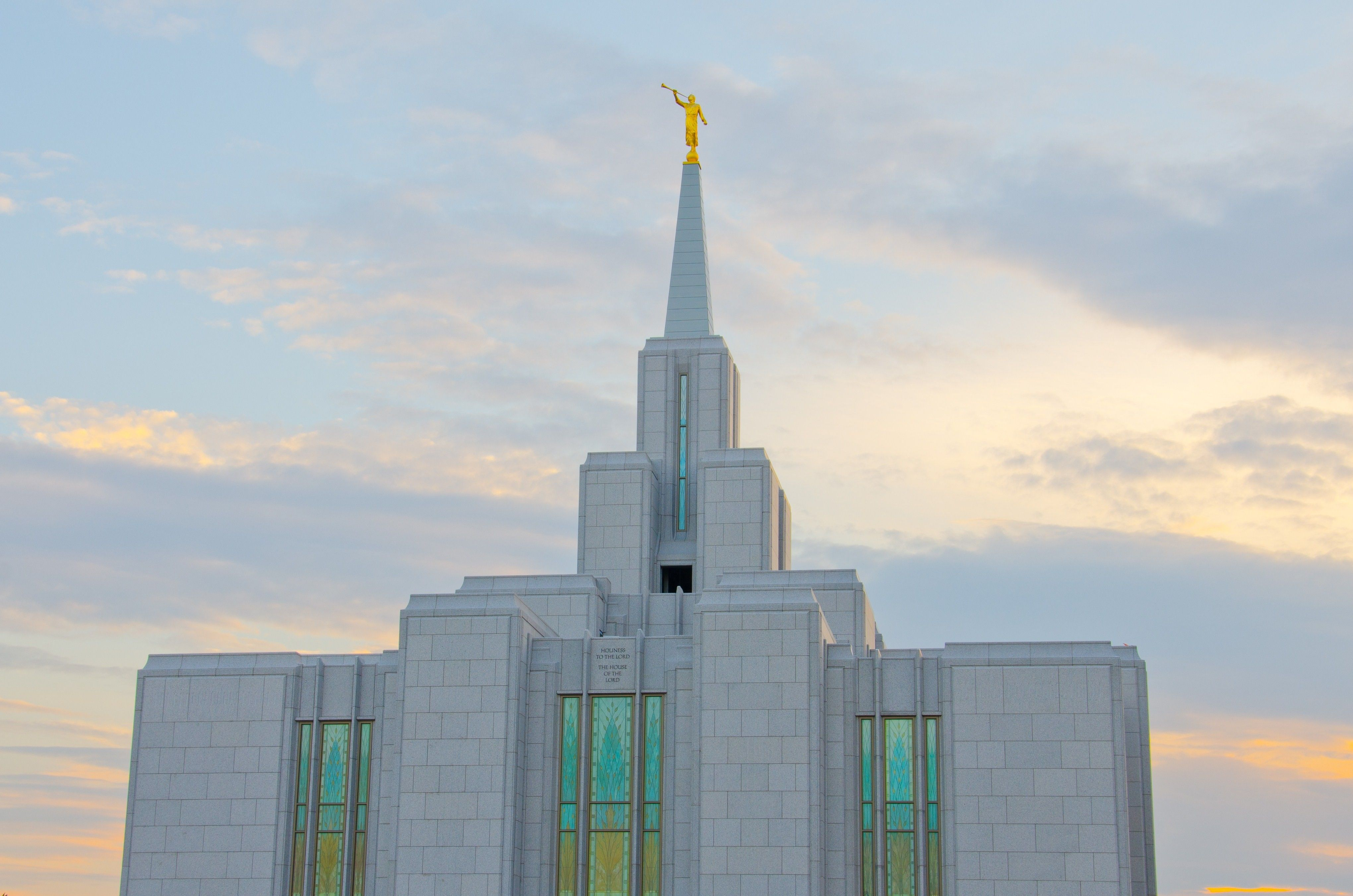 A view looking up at the spire of the Calgary Alberta Temple.