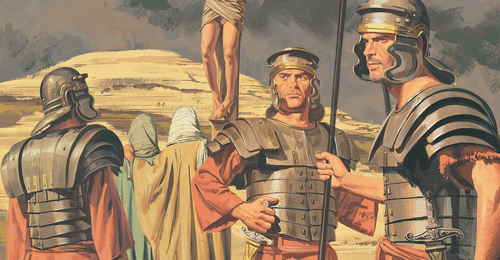 soldiers standing by the cross