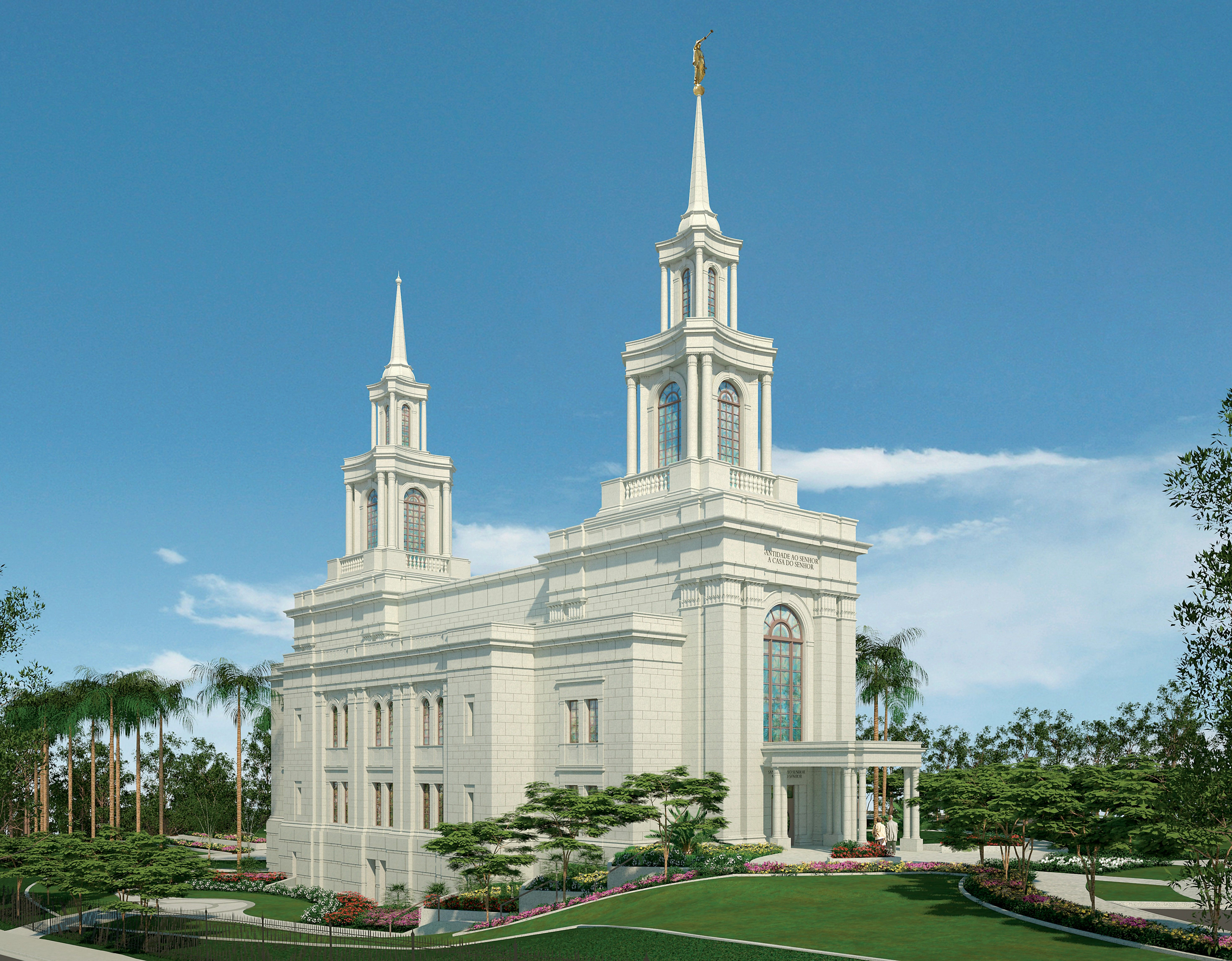 An artist's rendition of the Fortaleza Brazil Temple.