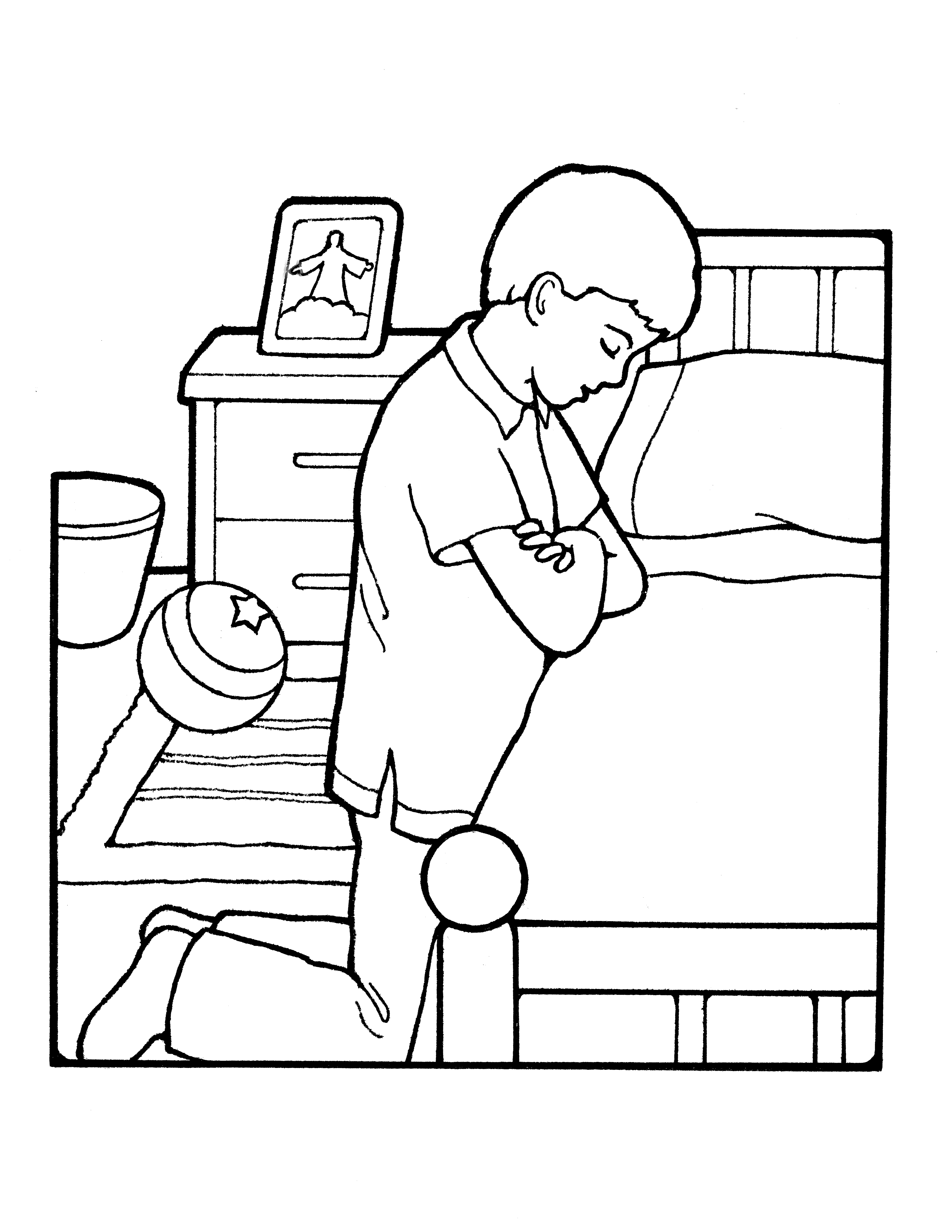 A line drawing of a boy praying near his bedside.