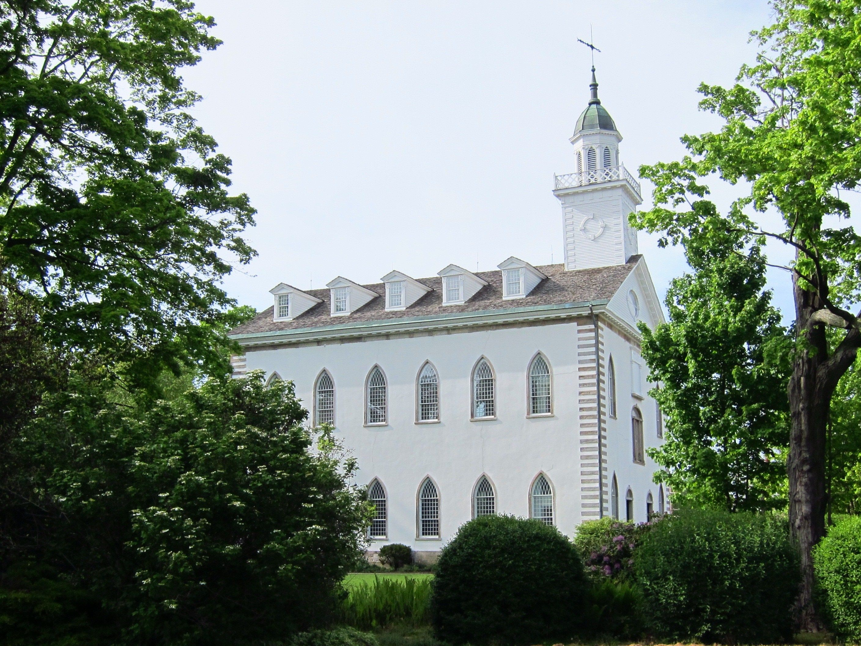 The Kirtland Temple side view, including scenery.