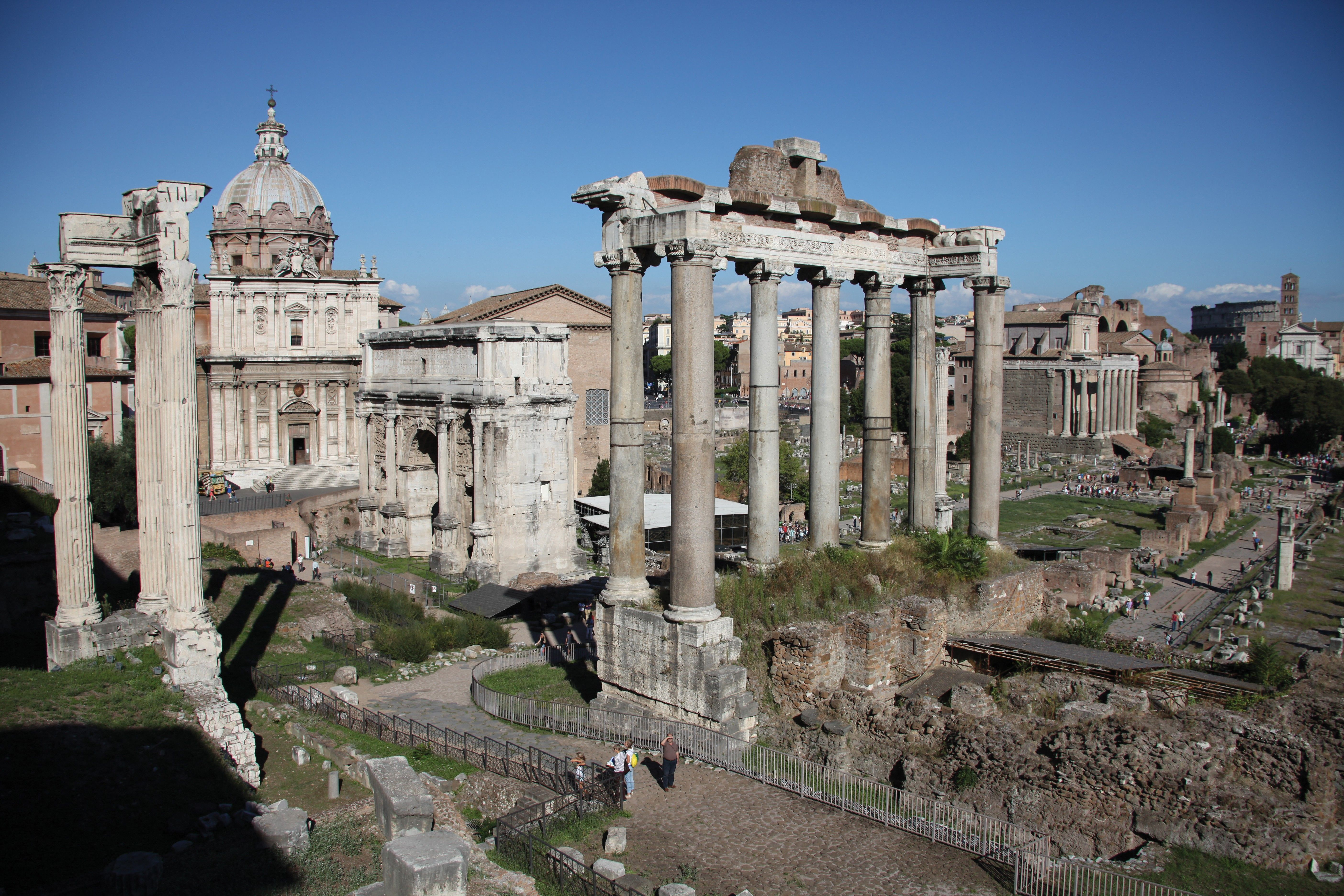A photograph of the Roman Forum in Rome, Italy.