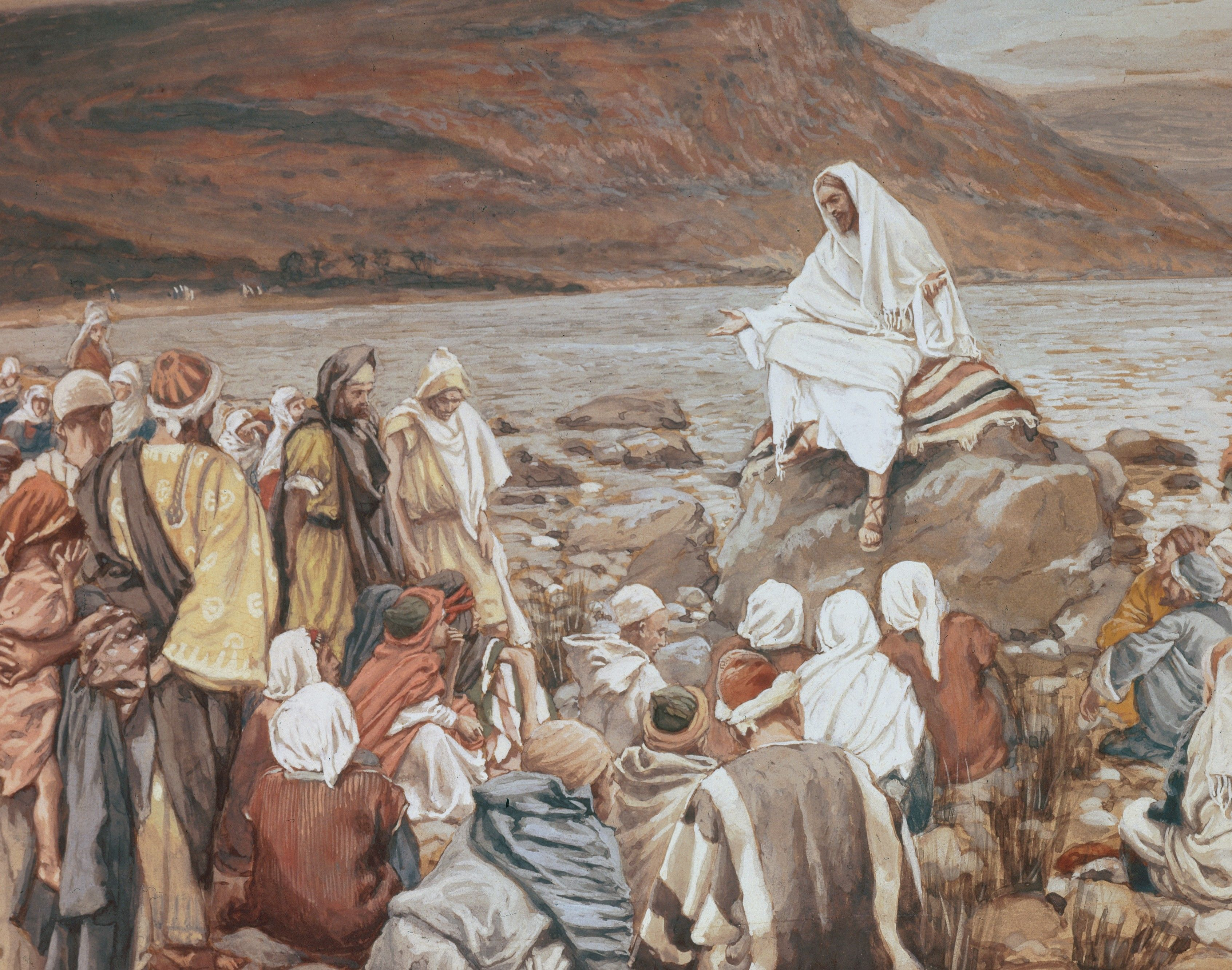 Jesus Teaching the People by the Seashore, by James Tissot