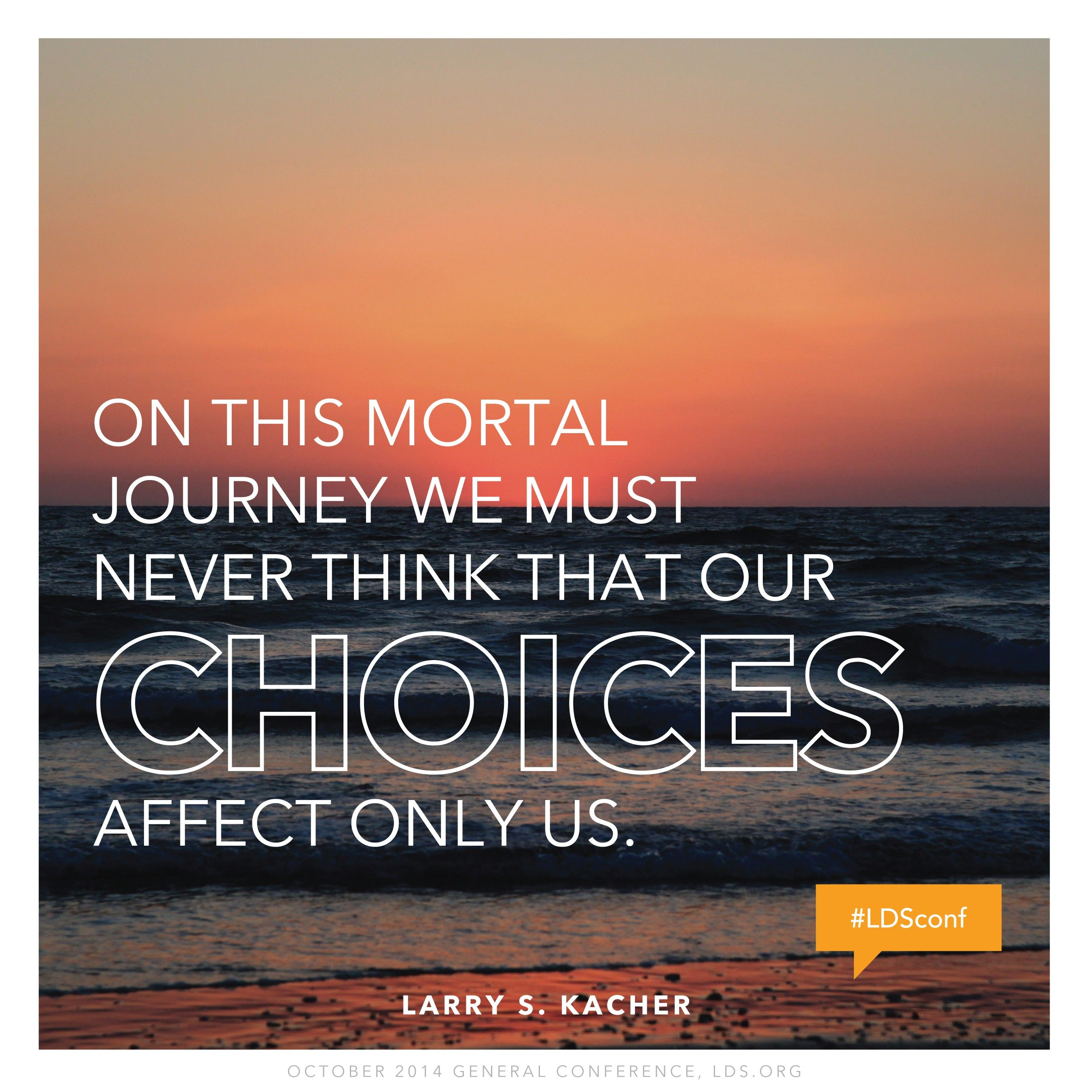"""""""On this mortal journey we must never think that our choices affect only us.""""—Elder Larry S. Kacher, """"Trifle Not with Sacred Things"""""""