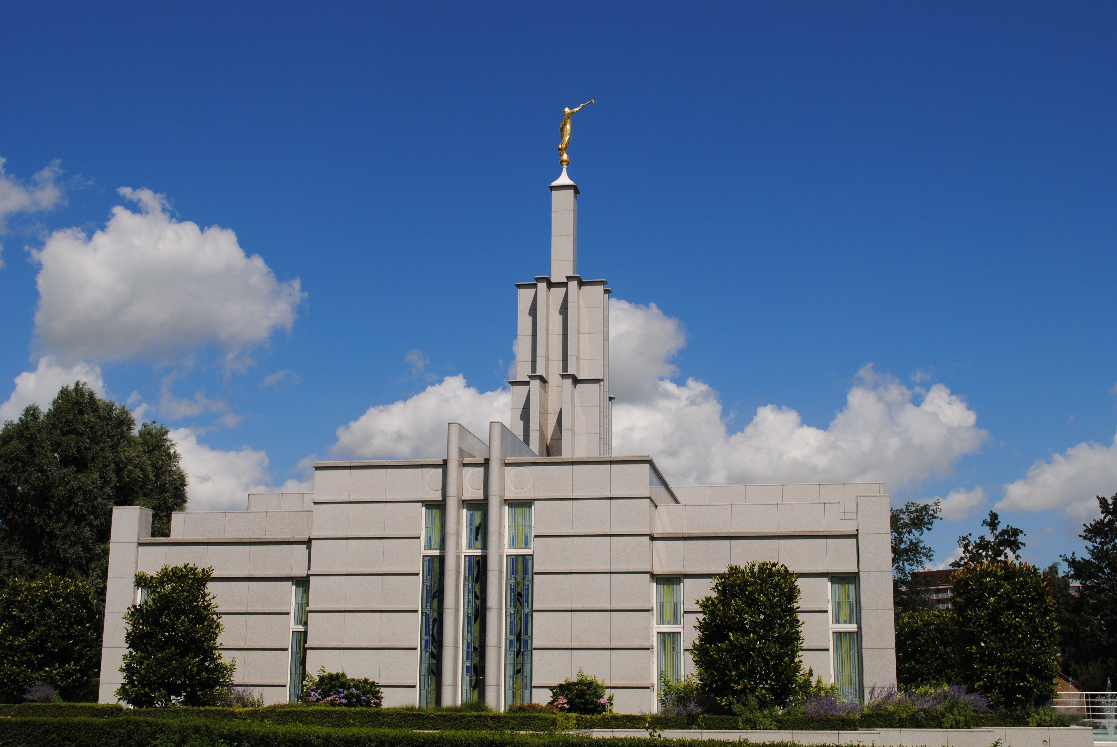The Hague Netherlands Temple south side, including scenery.