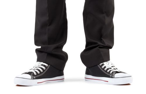 Black trousers and sneakers
