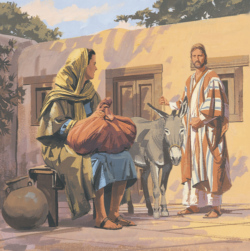 Joseph and Mary traveling