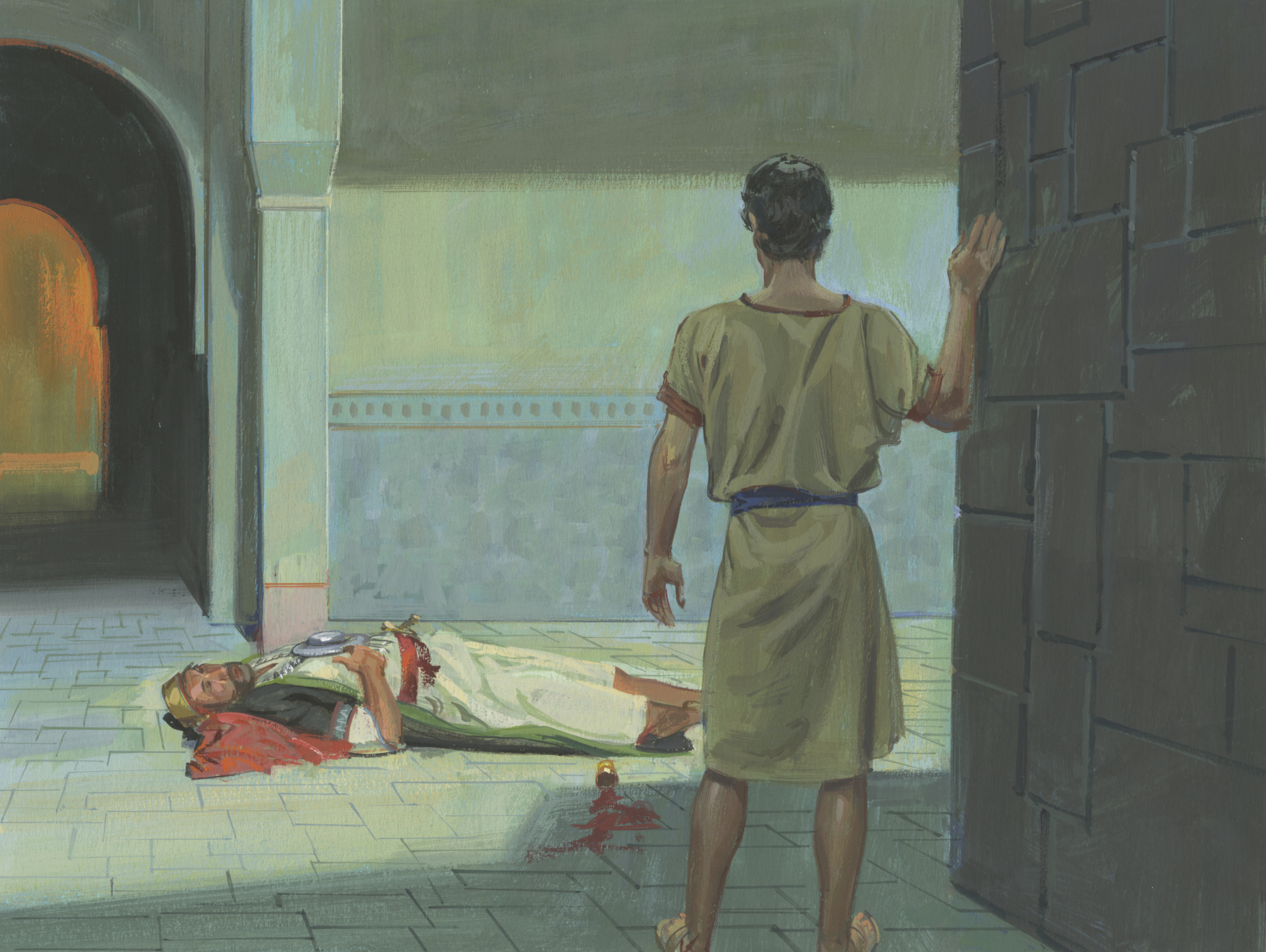 A painting by Jerry Thompson depicting Nephi standing near Laban's house; Primary manual 3-42