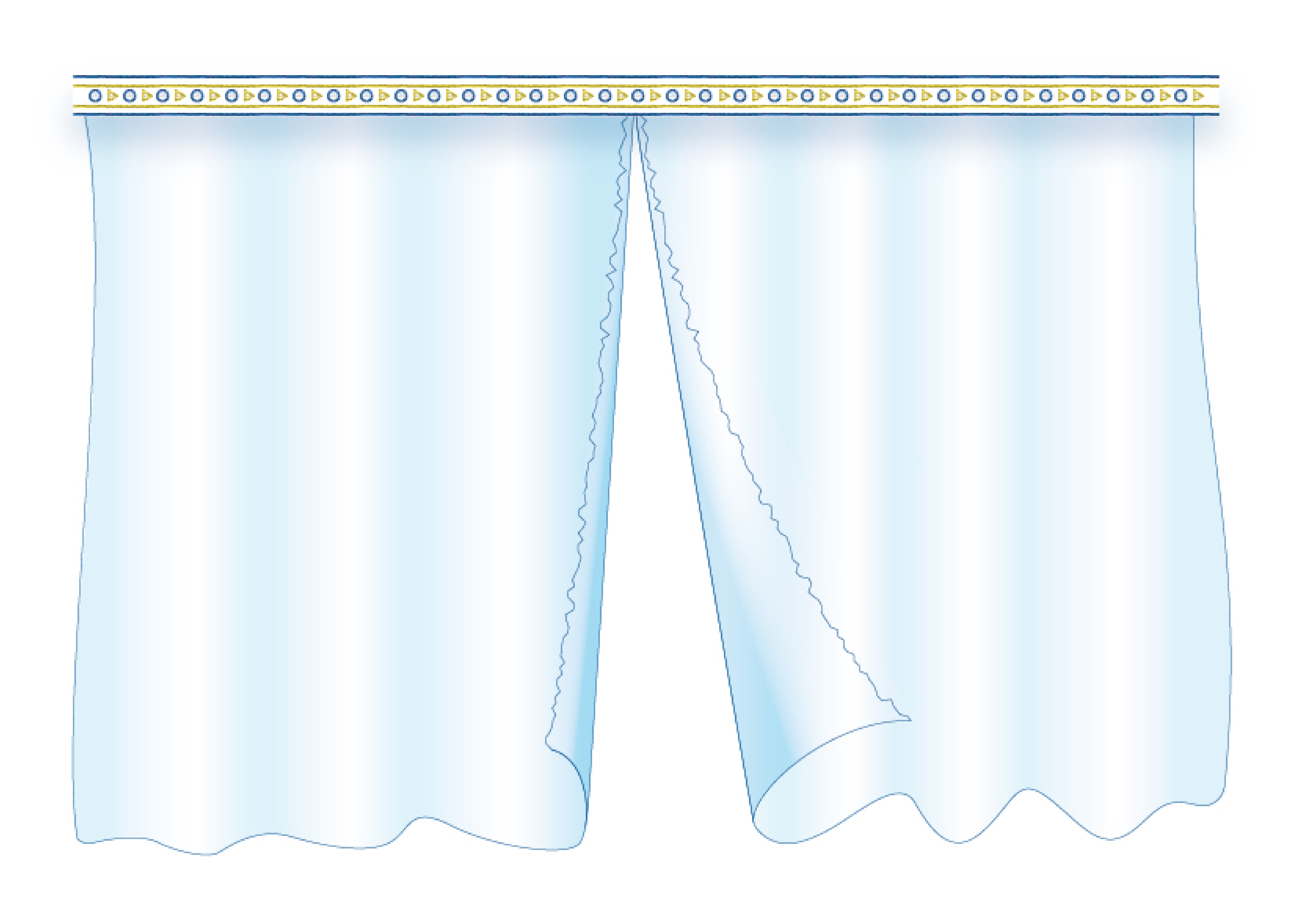 An illustration of a blue and white veil torn down the center.