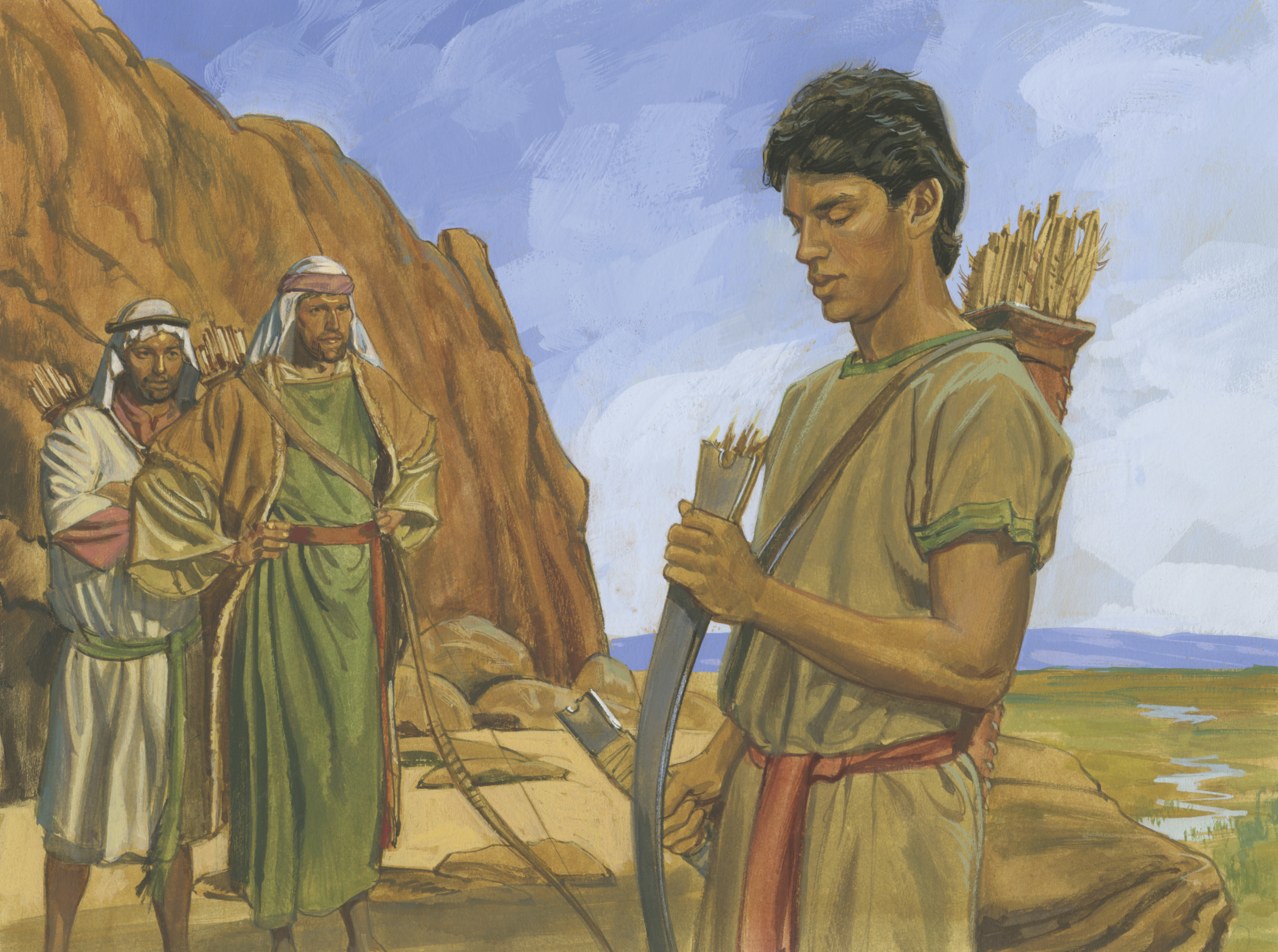 A painting by Jerry Thompson depicting Nephi and his broken bow; Primary manual 4-16