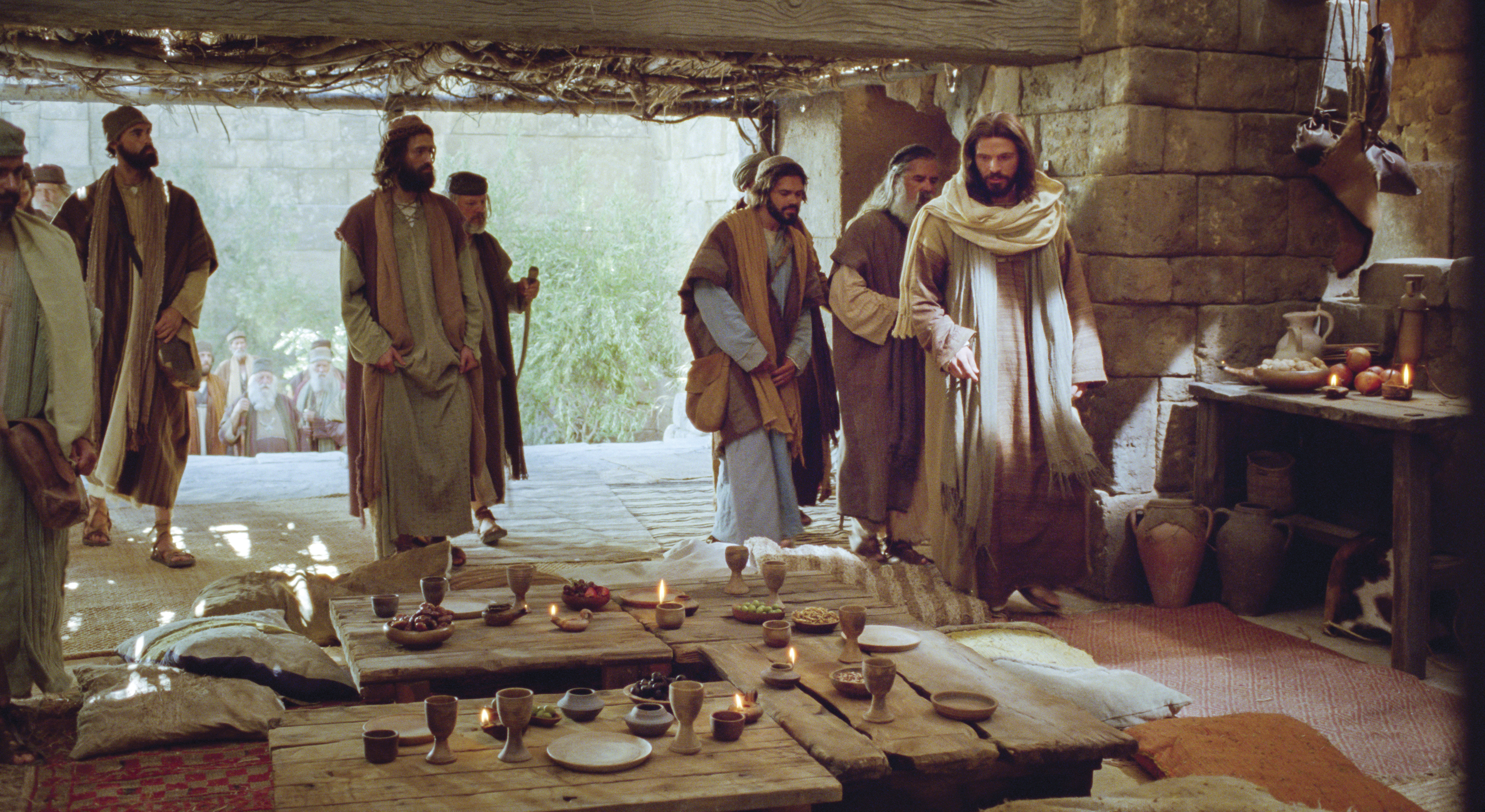 Jesus and His disciples prepare for a meal and to be taught.