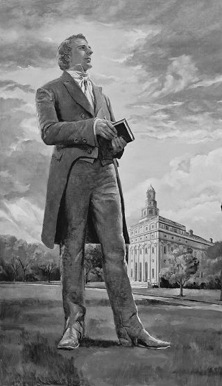 Joseph Smith in front of Nauvoo Temple