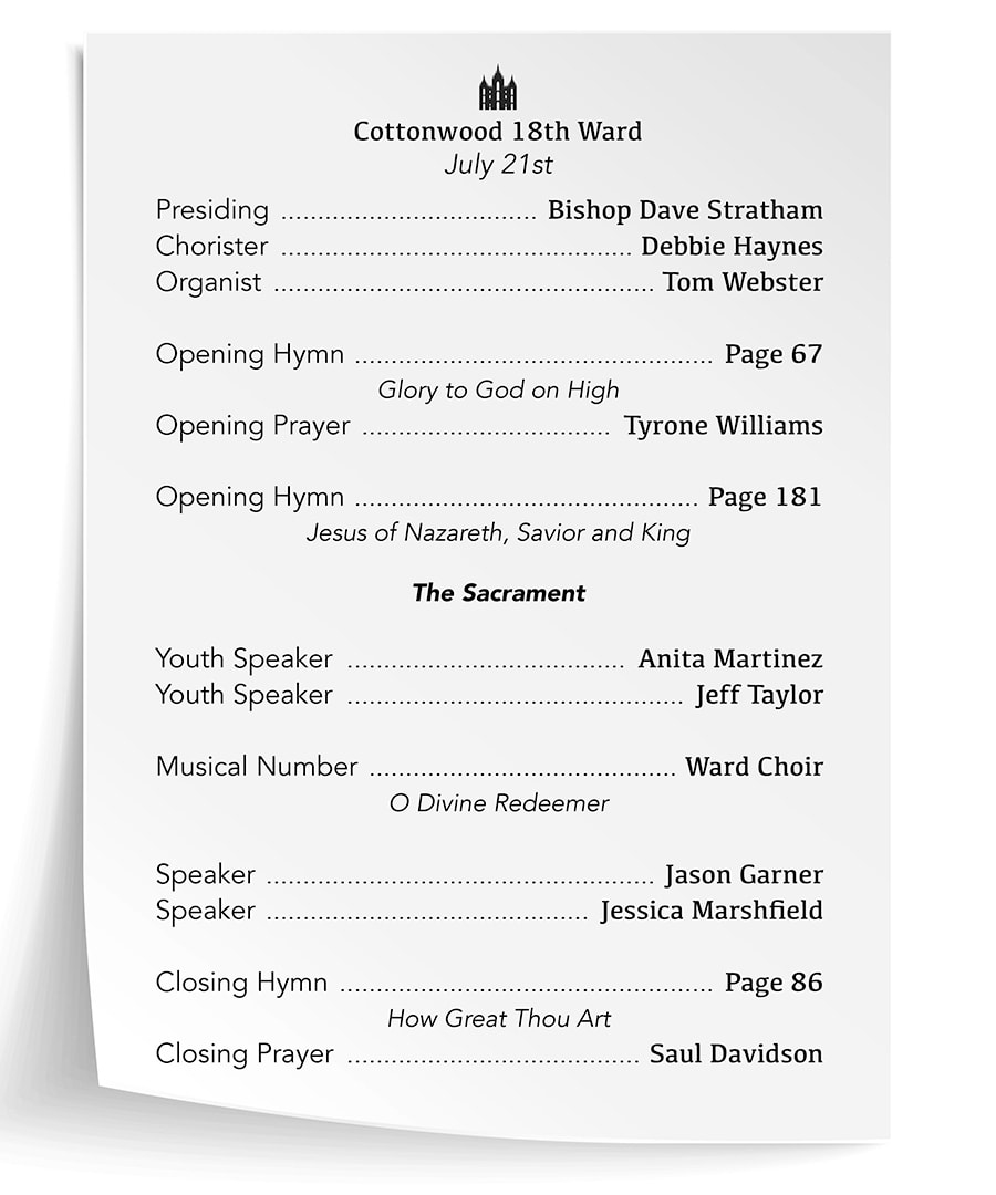 A sample program welcoming people to Sunday Services