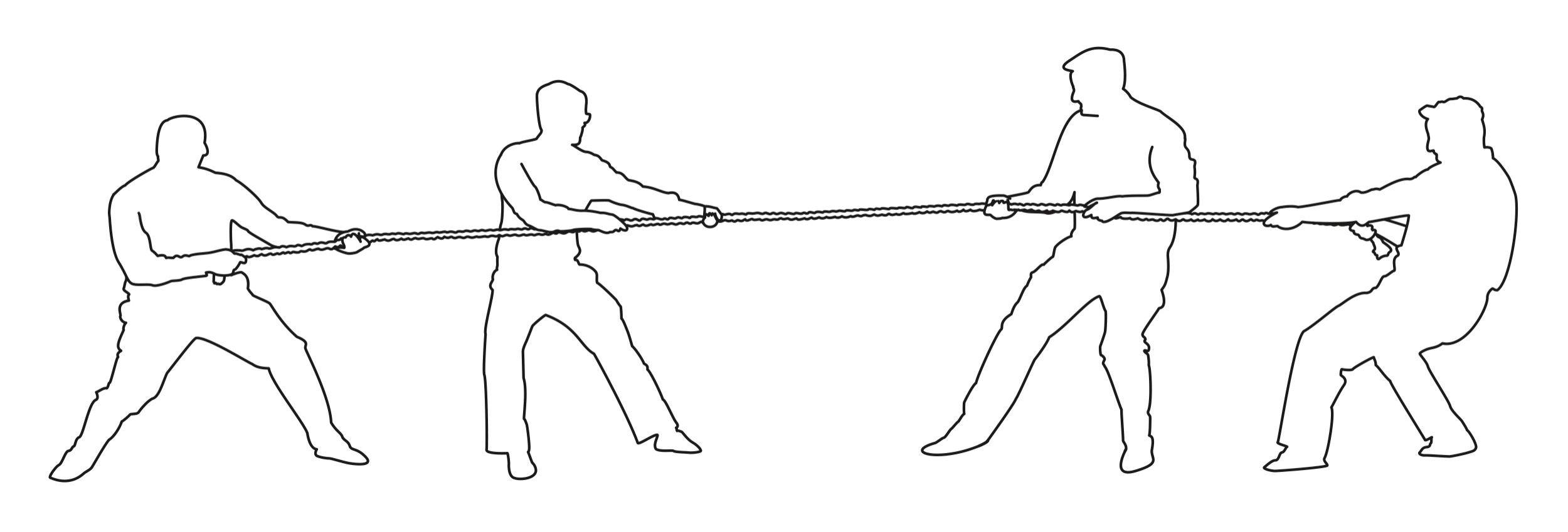 An illustration of figures playing tug-of-war.