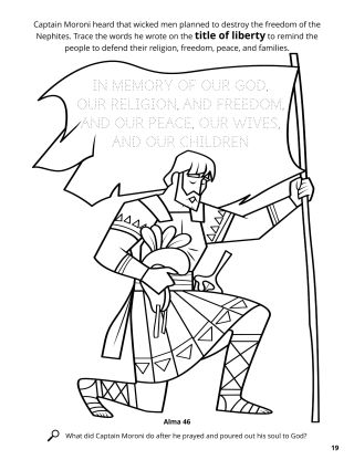 Moroni's Title of Liberty coloring page