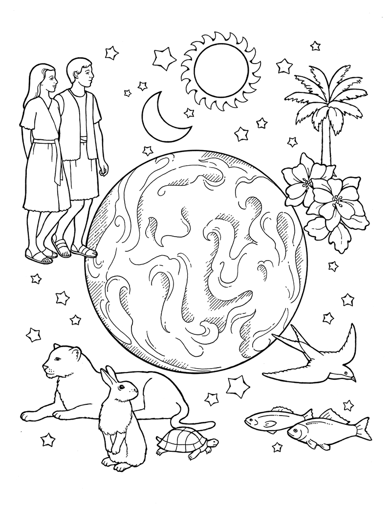 An illustration of the Creation, with the earth in the center surrounded by the sun, moon, stars, Adam and Eve, animals, fish, a palm tree, and flowers.