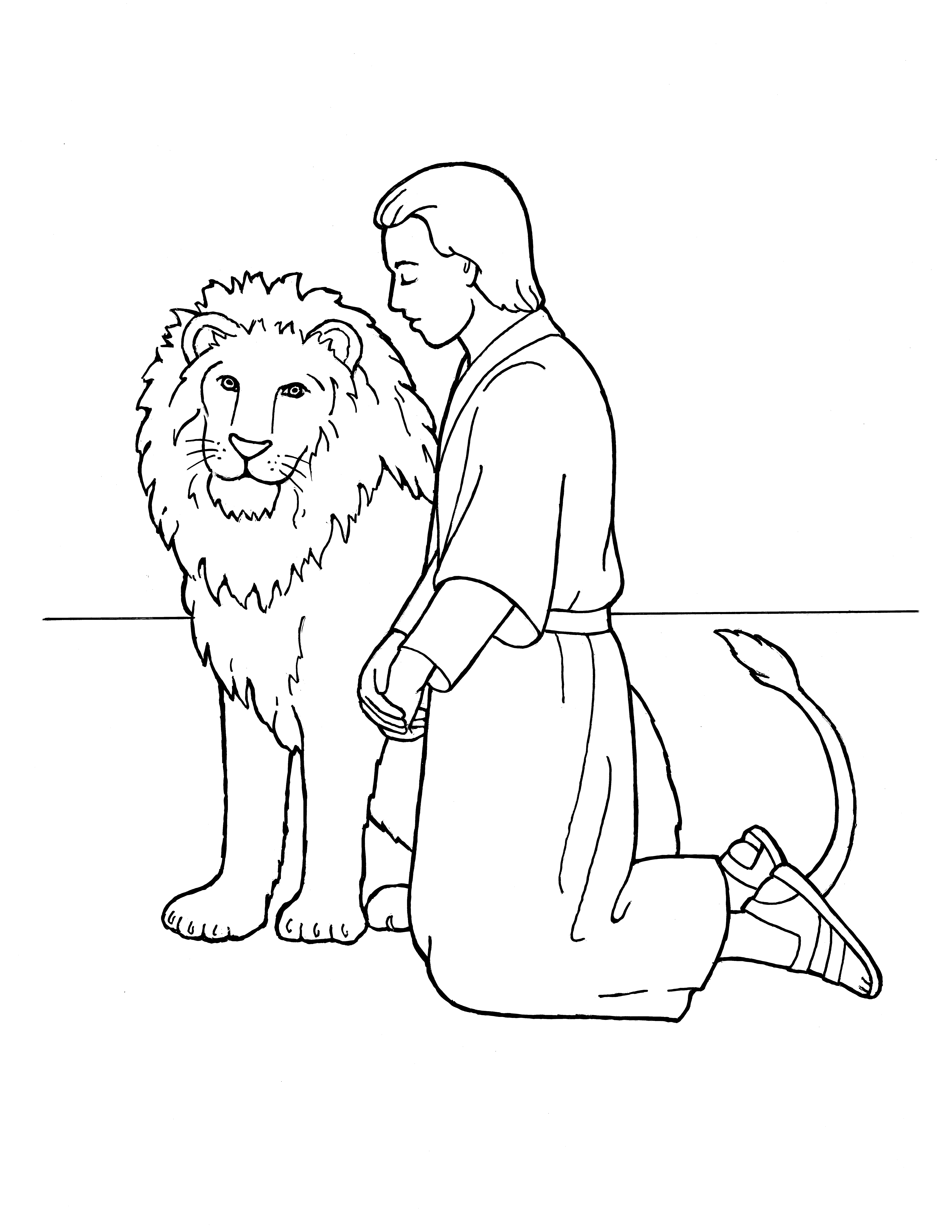 An illustration of Daniel kneeling in prayer beside a lion, from the nursery manual Behold Your Little Ones (2008), page 103.