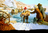 pioneers walking through frozen river