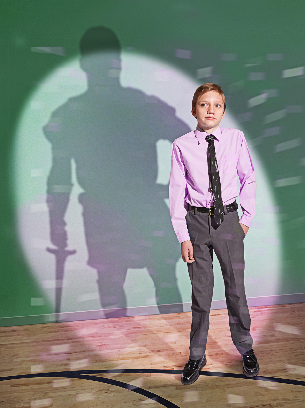 young man with Captain Moroni shadow