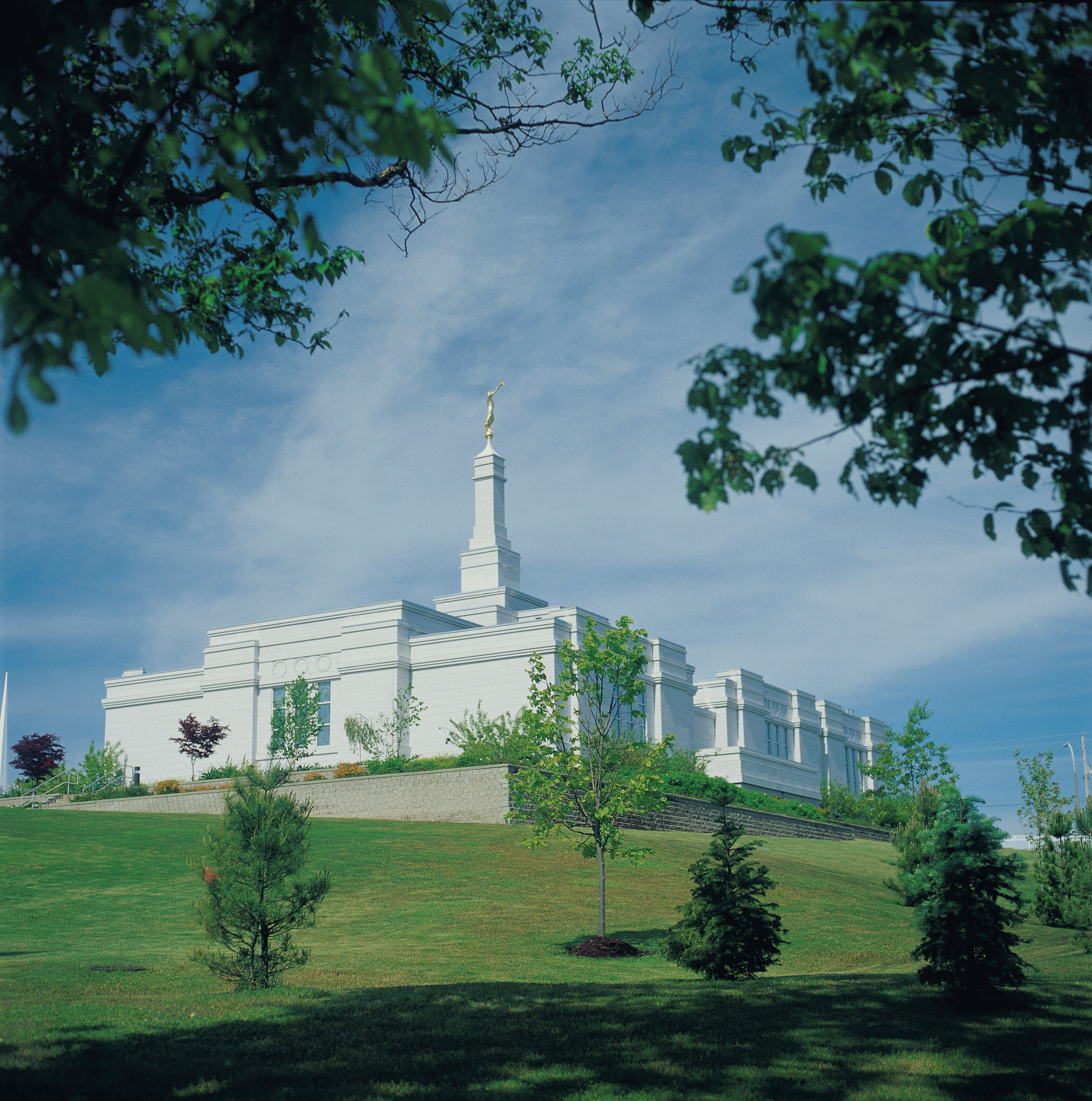 The Halifax Nova Scotia Temple and grounds in the daytime.