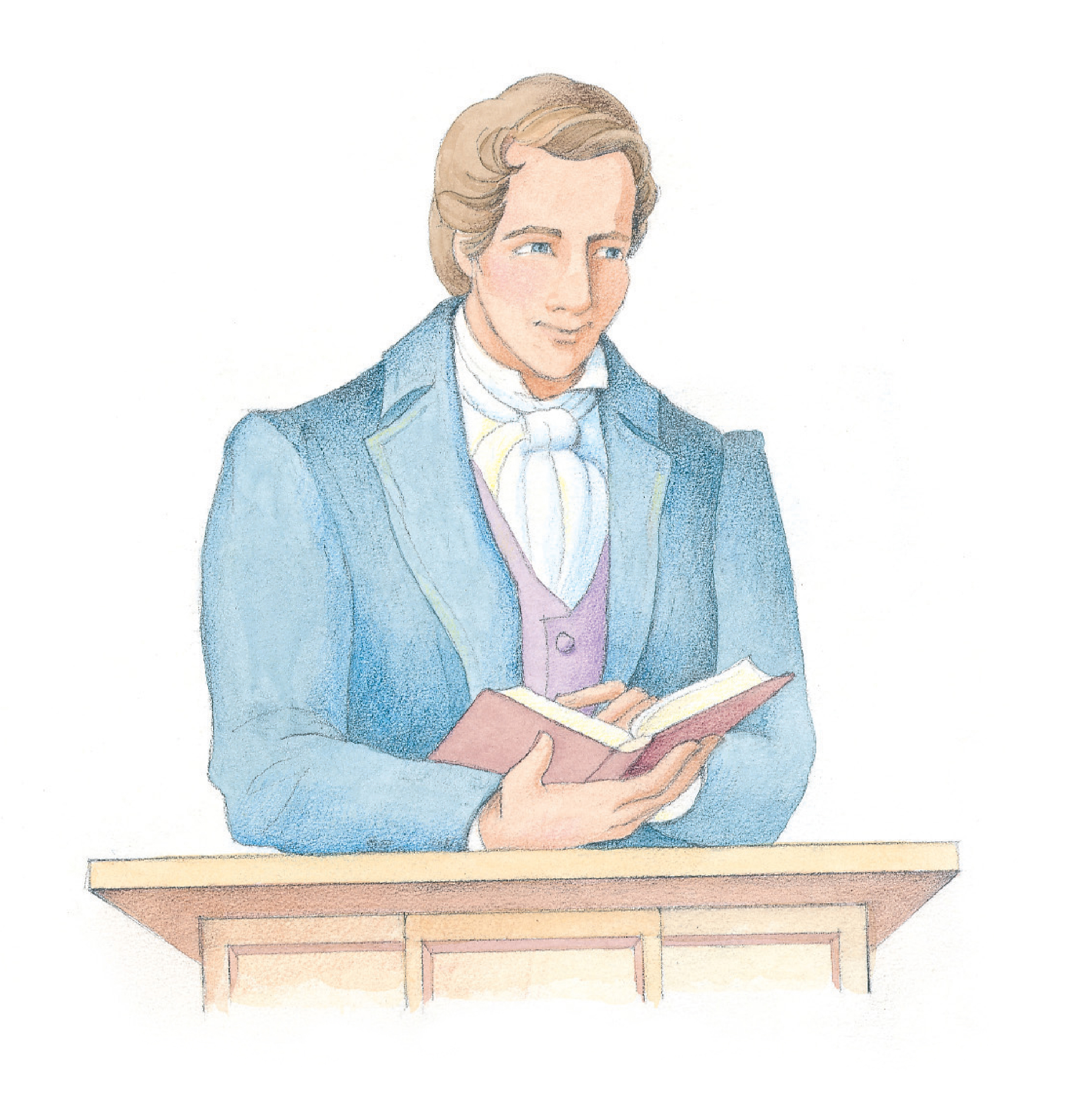 """Joseph Smith standing at a podium with a book in hand. From the Children's Songbook, page 159, """"Stand for the Right""""; watercolor illustration by Phyllis Luch."""
