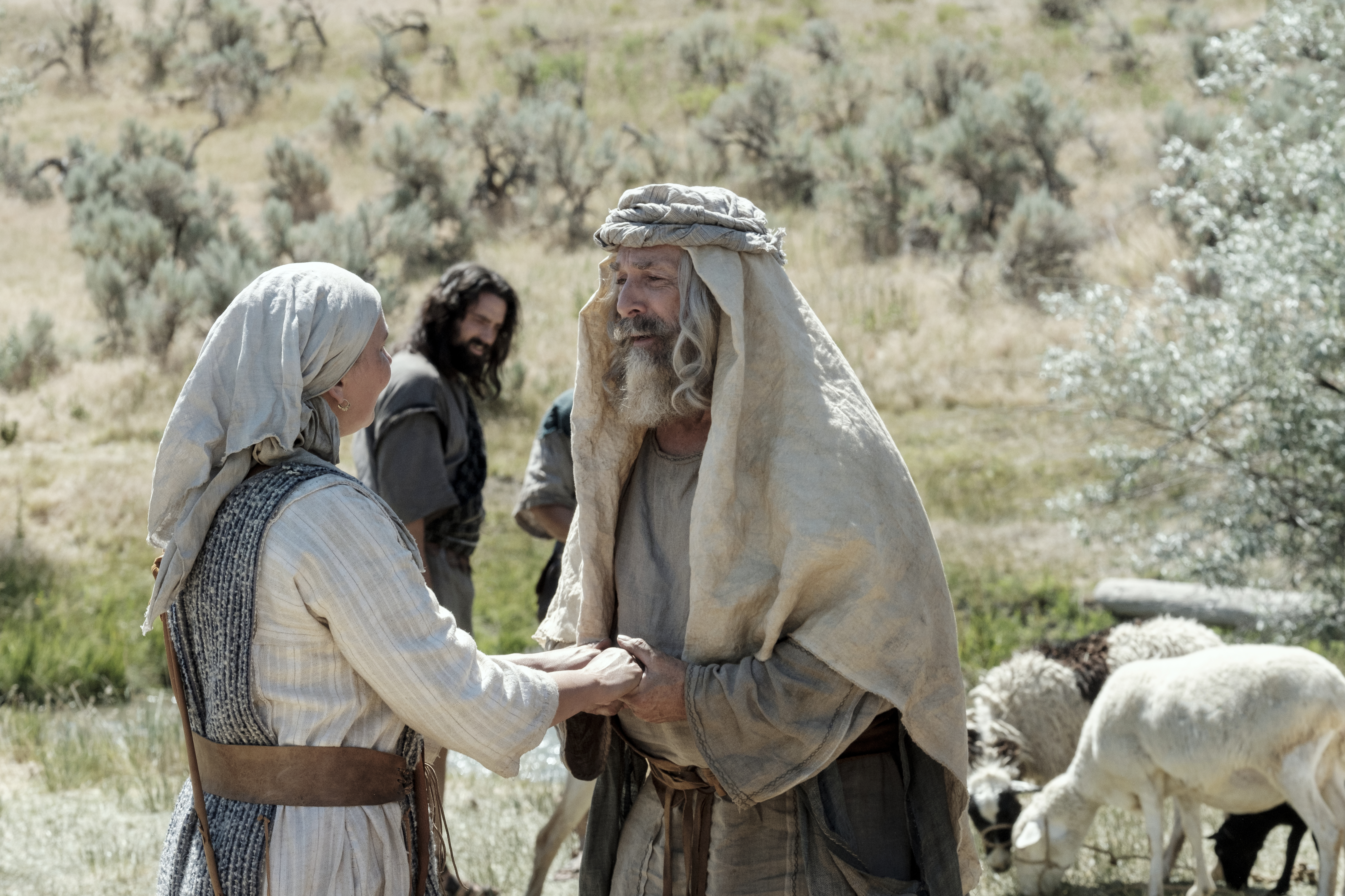 Lehi and Sariah talk in their camp in the wilderness.