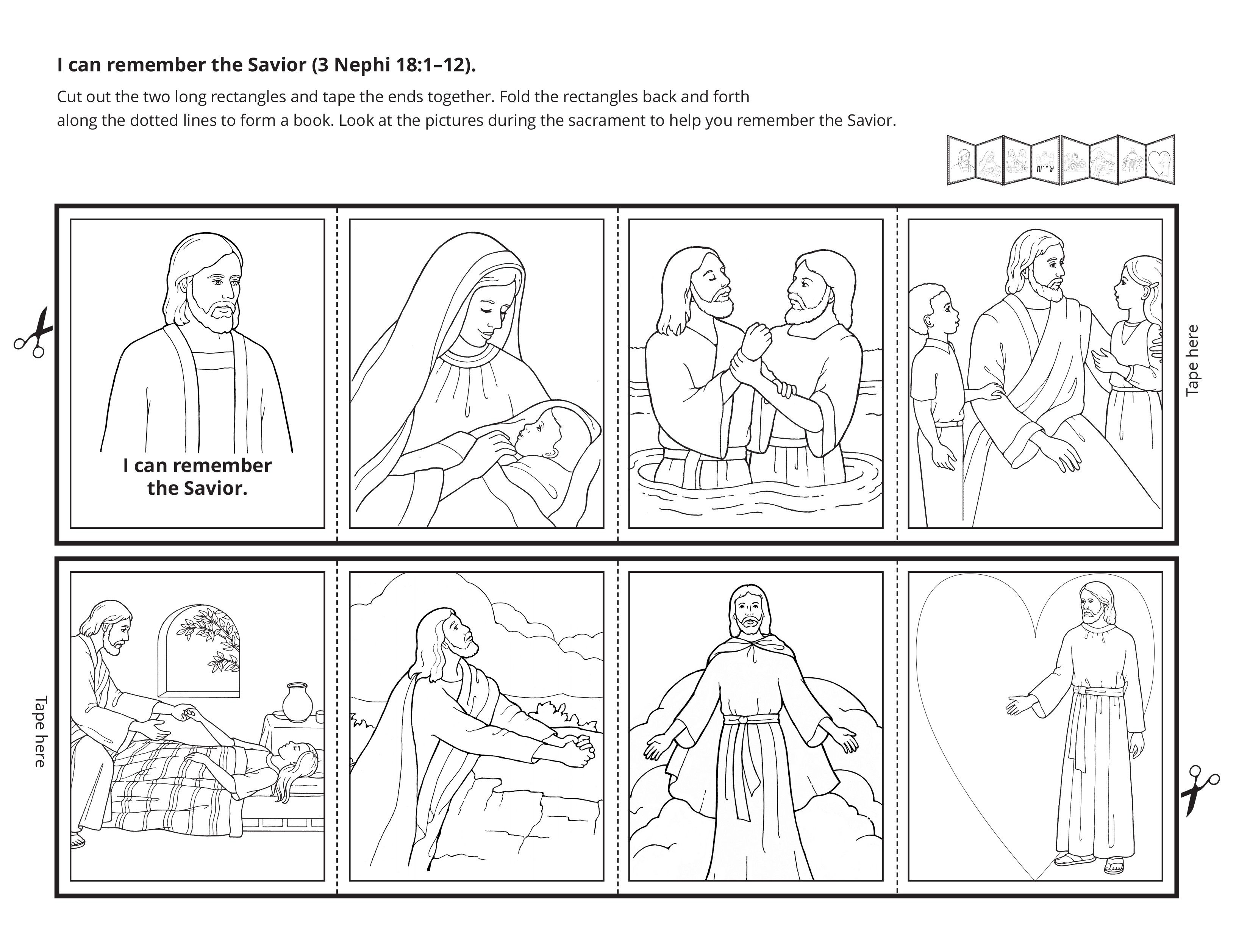 A line-art activity showing ways to remember the Savior.