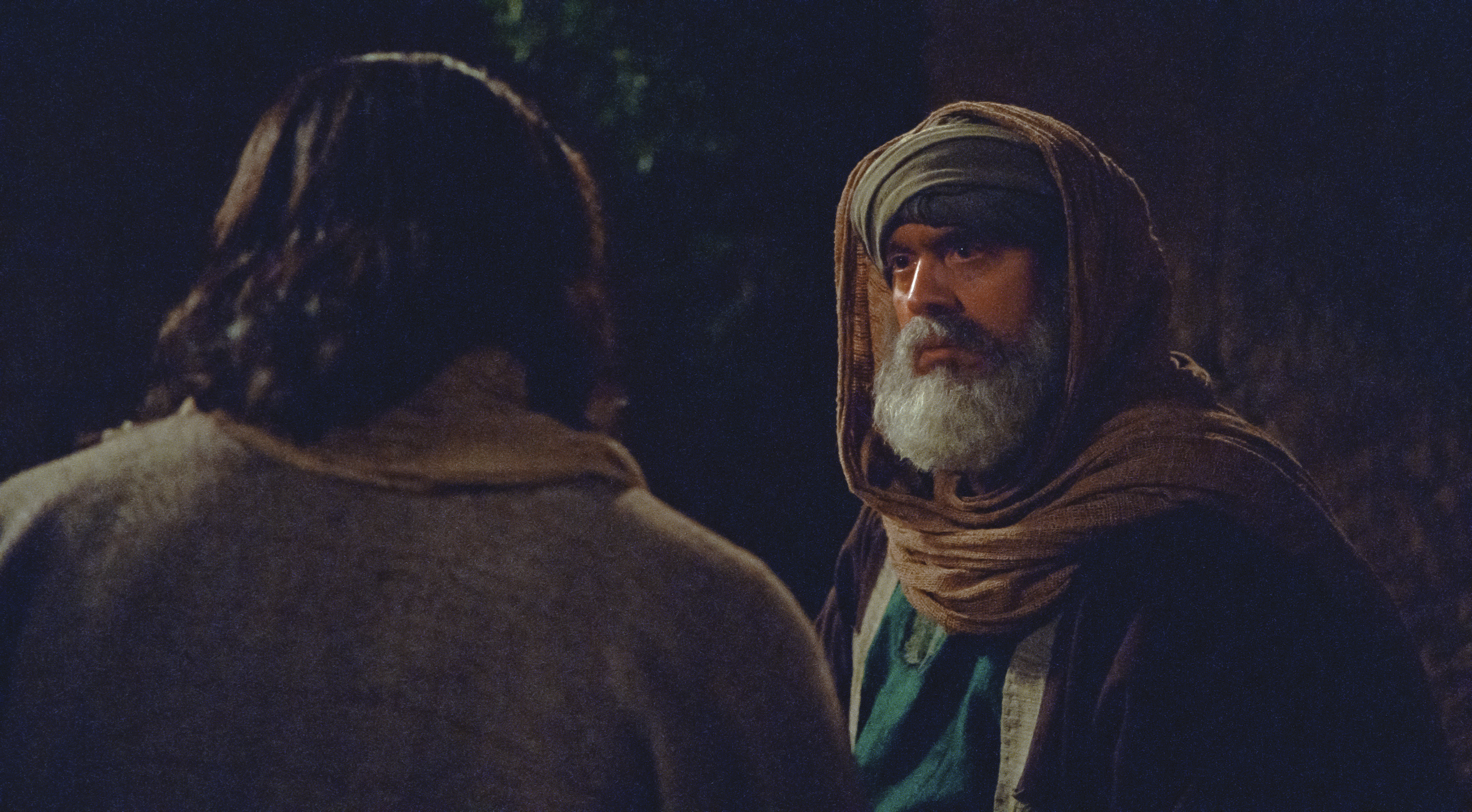 Nicodemus listens to Jesus as He teaches him.